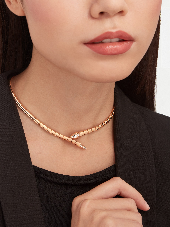 Collier Serpenti Viper en or rose 18K avec semi-pavé diamants CL858905 image 1