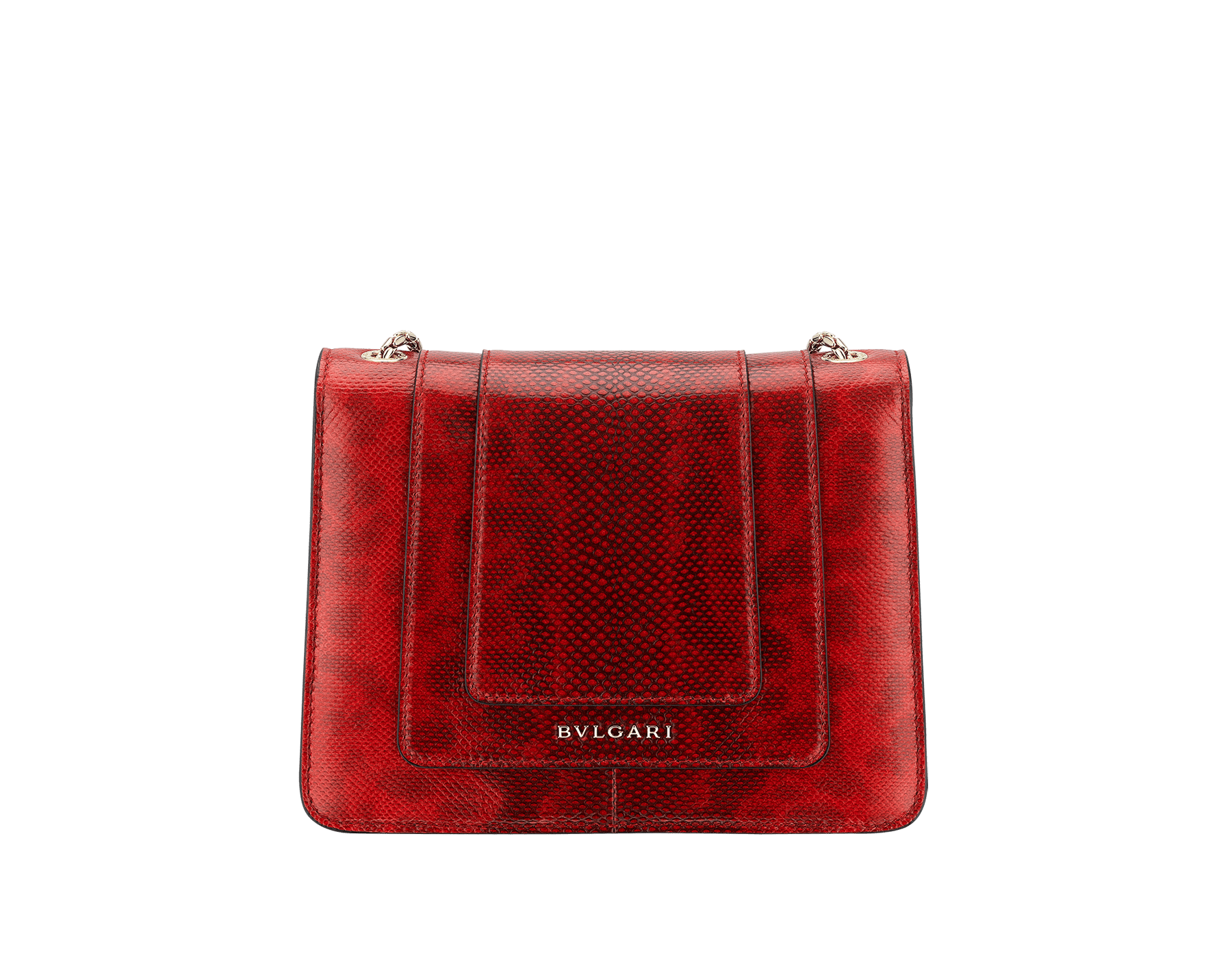 """Serpenti Forever "" crossbody bag in shiny carmine jasper karung skin. Iconic snakehead closure in light gold plated brass enriched with black and white enamel and green malachite eyes 287104 image 3"