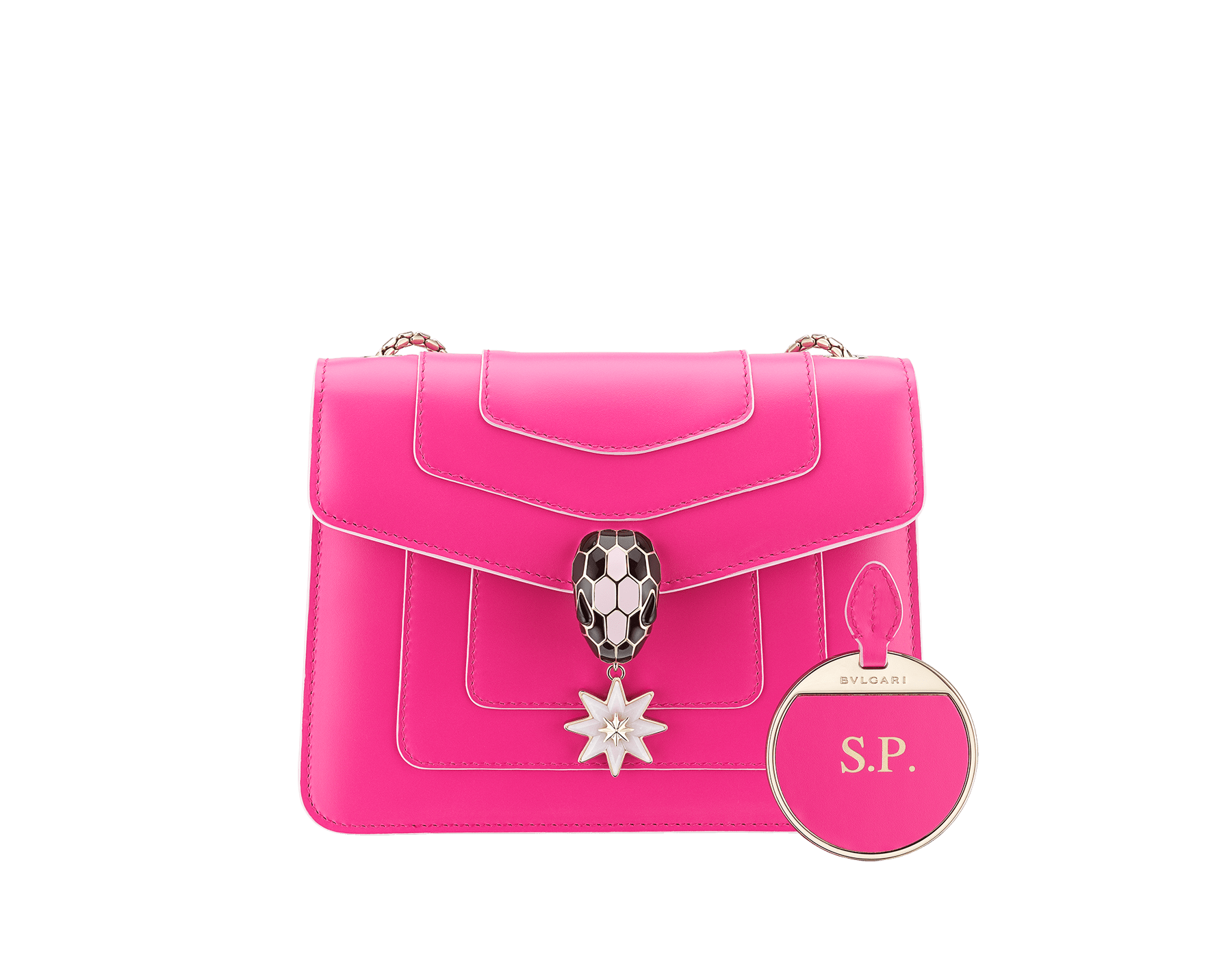 Serpenti Forever Holiday Season crossbody bag in flash amethyst calf leather and rose quartz brushed metallic calf leather. Snakehead closure in light gold plated brass embellished with black and sakura pink enamel, black onyx eyes and a pink opal eight-pointed star charm. 289367 image 3