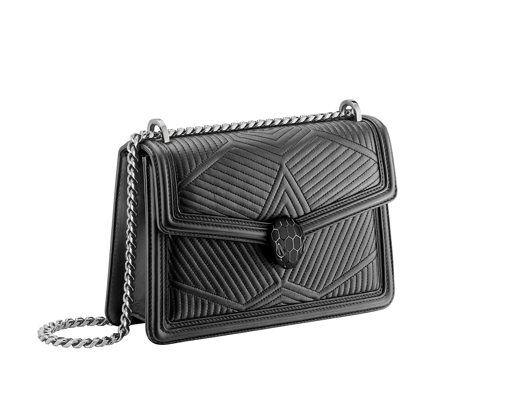 """Serpenti Diamond Blast"" shoulder bag in crystal rose quilted nappa leather body and crystal rose calf leather frames. Iconic snakehead closure in light gold plated brass enriched with black and crystal rose enamel and black onyx eyes 922-FQDa image 2"