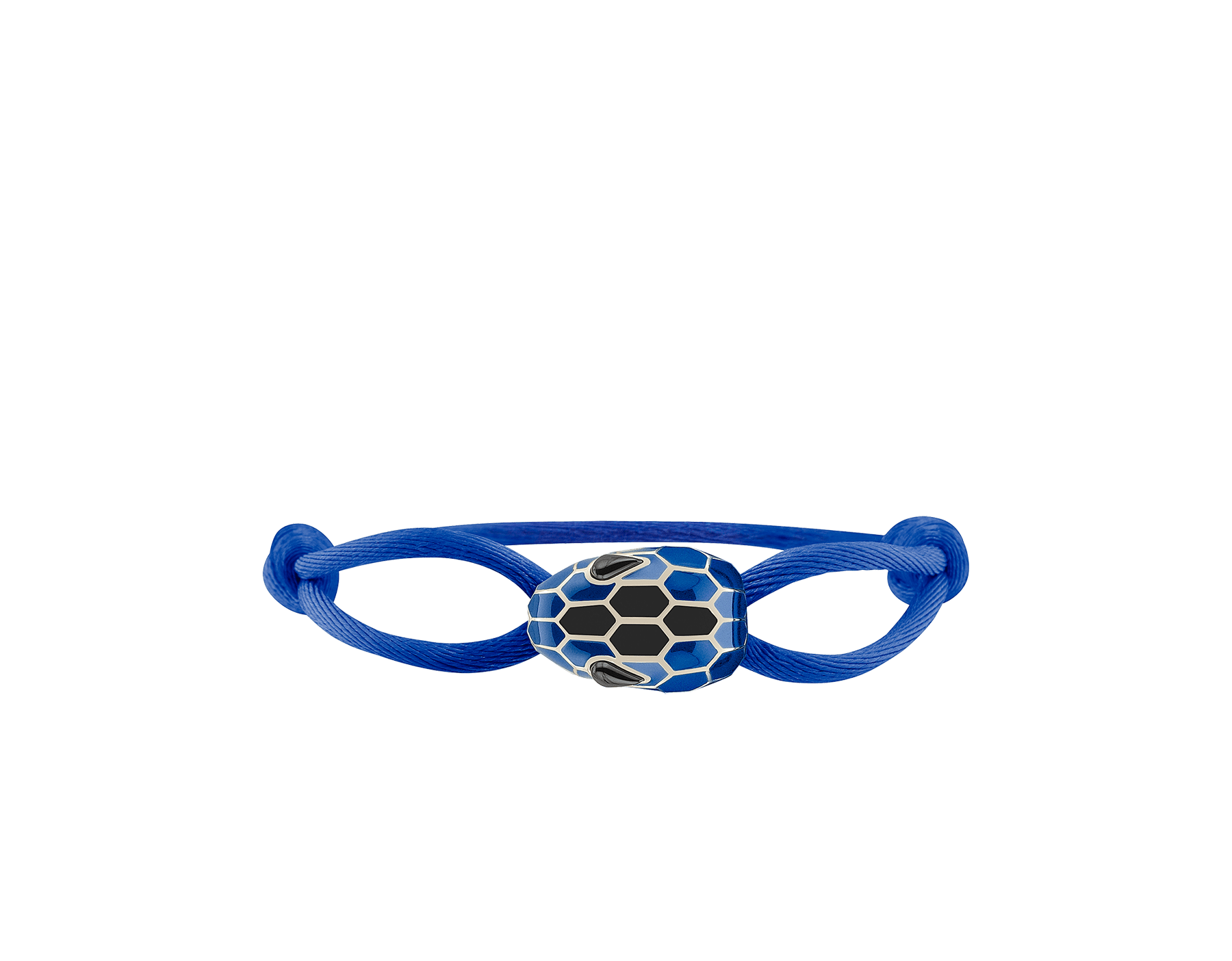 """Serpenti Forever"" bracelet in Cobalt Tourmaline blue fabric with a light gold-plated brass tempting snakehead décor enamelled in Cobalt Tourmaline blue and black, with seductive black enamel eyes. SERP-STRINGd image 1"