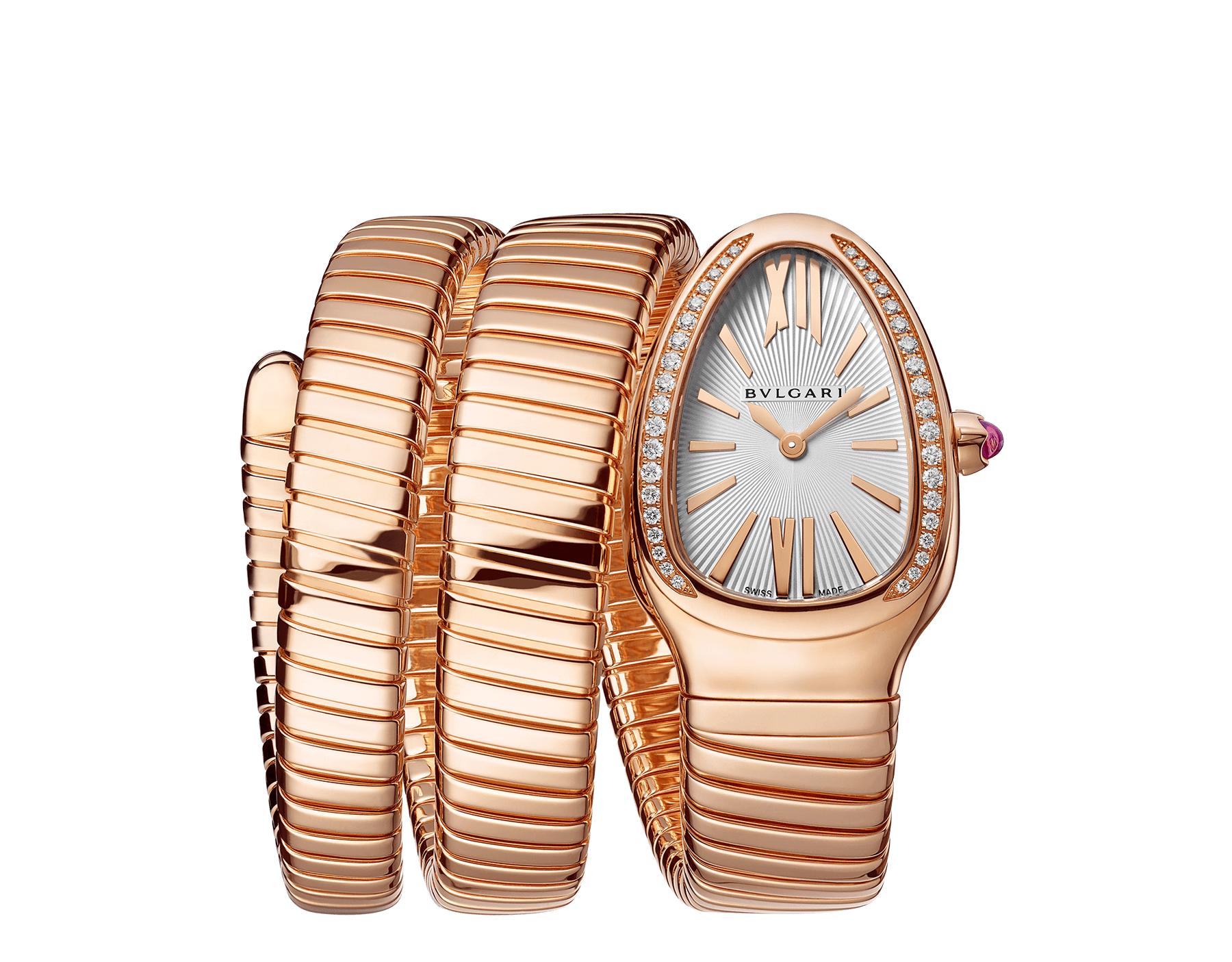 Serpenti Tubogas double spiral watch with 18 kt rose gold case set with brilliant-cut diamonds, silver opaline dial and 18 kt rose gold bracelet 103002 image 1