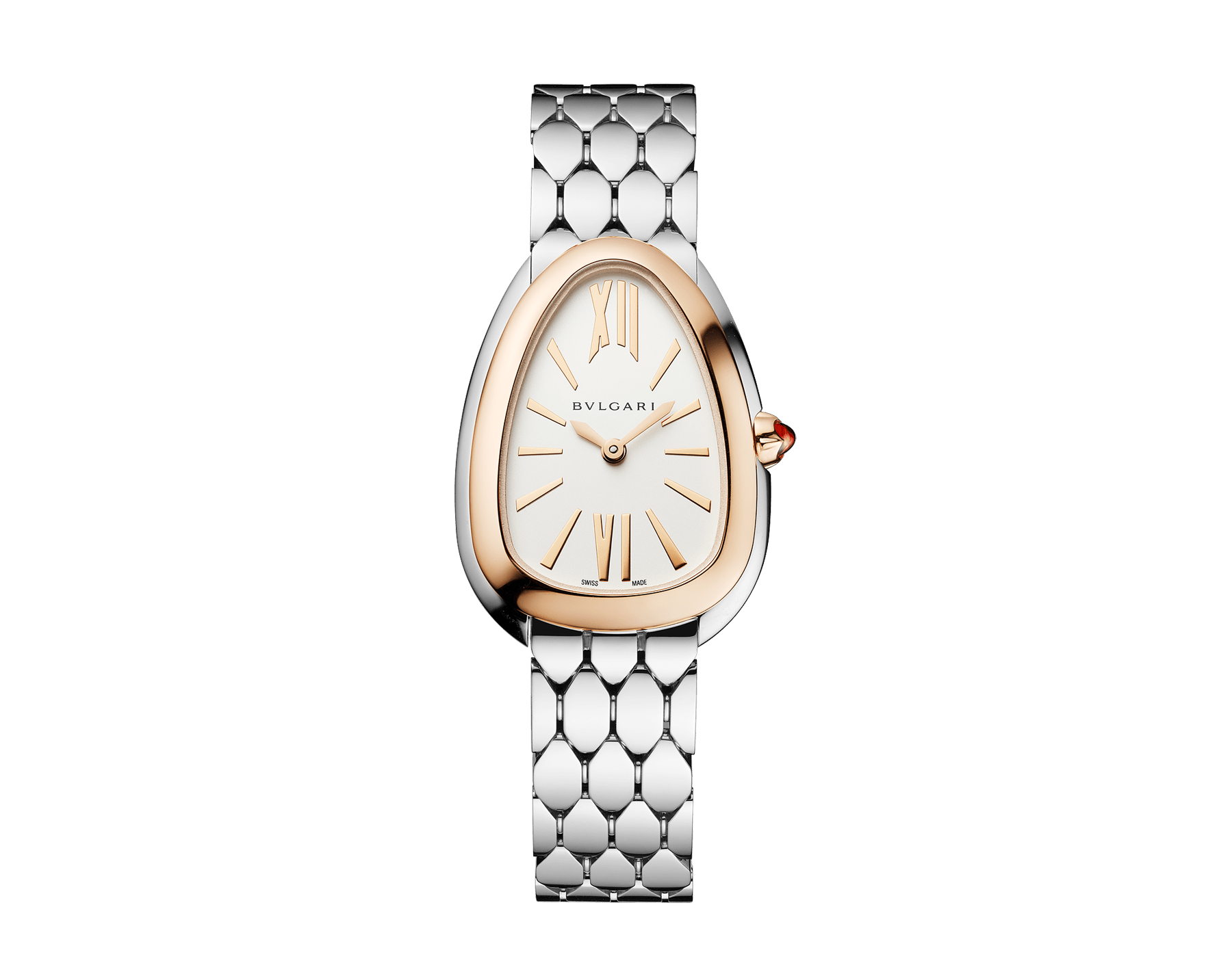 Serpenti Seduttori watch with stainless steel case, stainless steel bracelet, 18 kt rose gold bezel and a white silver opaline dial. 103144 image 1