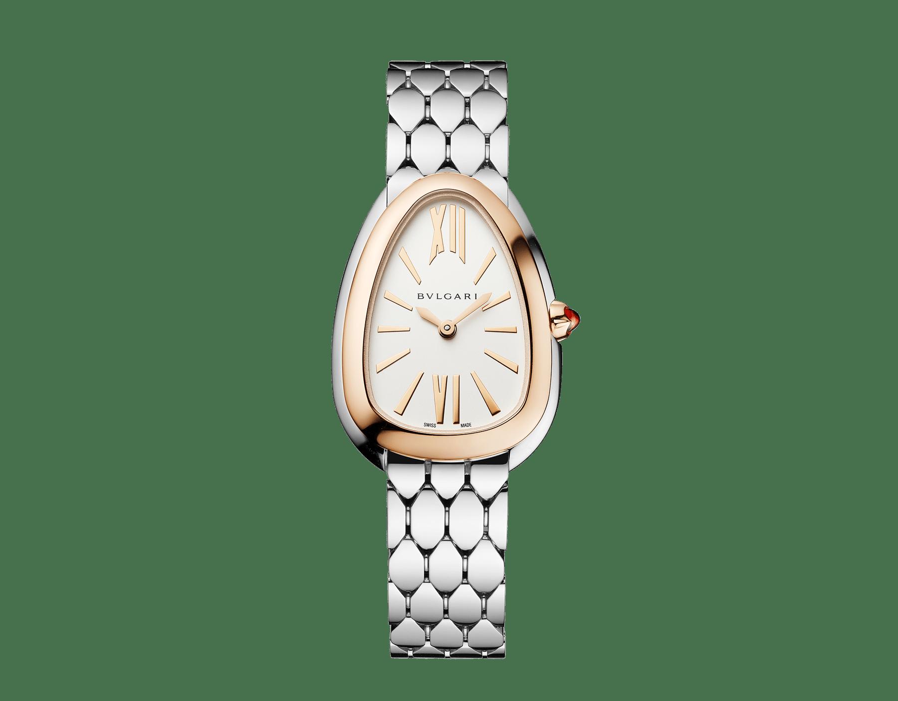 Relógio Serpenti Seduttori com caixa em aço, pulseira em aço, bezel em ouro rosa 18K e mostrador em opalina branco-prata. 103144 image 1