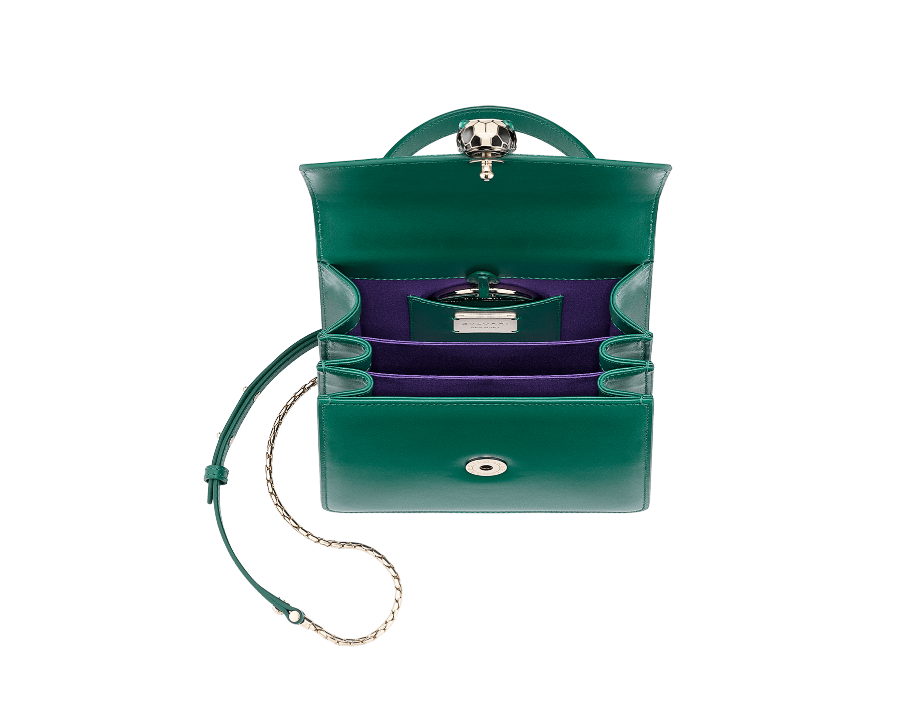 Flap cover bag Serpenti Forever in emerald green galuchat skin and emerald green calf leather. 282373 image 3
