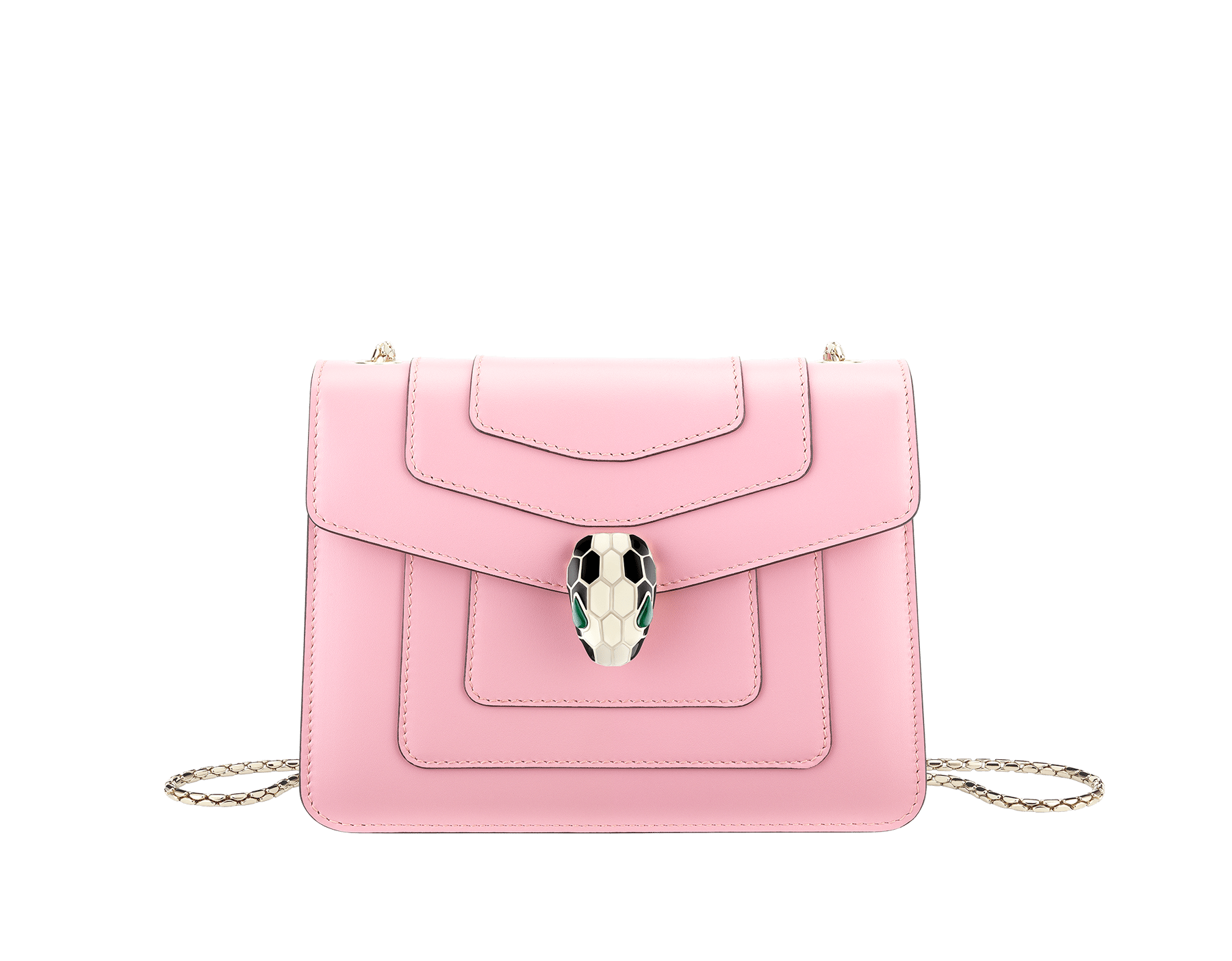 Serpenti Forever crossbody bag in sea star coral smooth calf leather. Snakehead closure in light gold plated brass decorated with black and white enamel, and green malachite eyes. 422-CLb image 1
