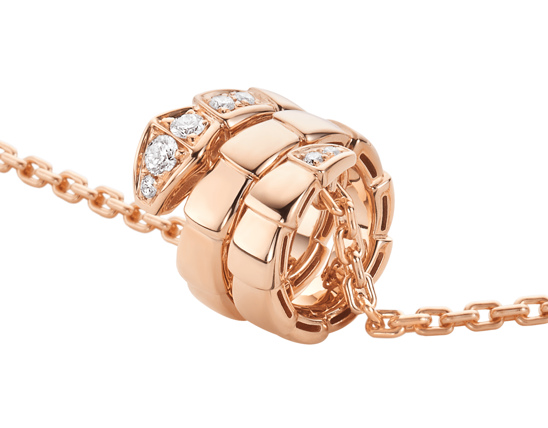 Serpenti Viper pendant necklace in 18 kt rose gold set with demi-pavé diamonds 357794 image 3