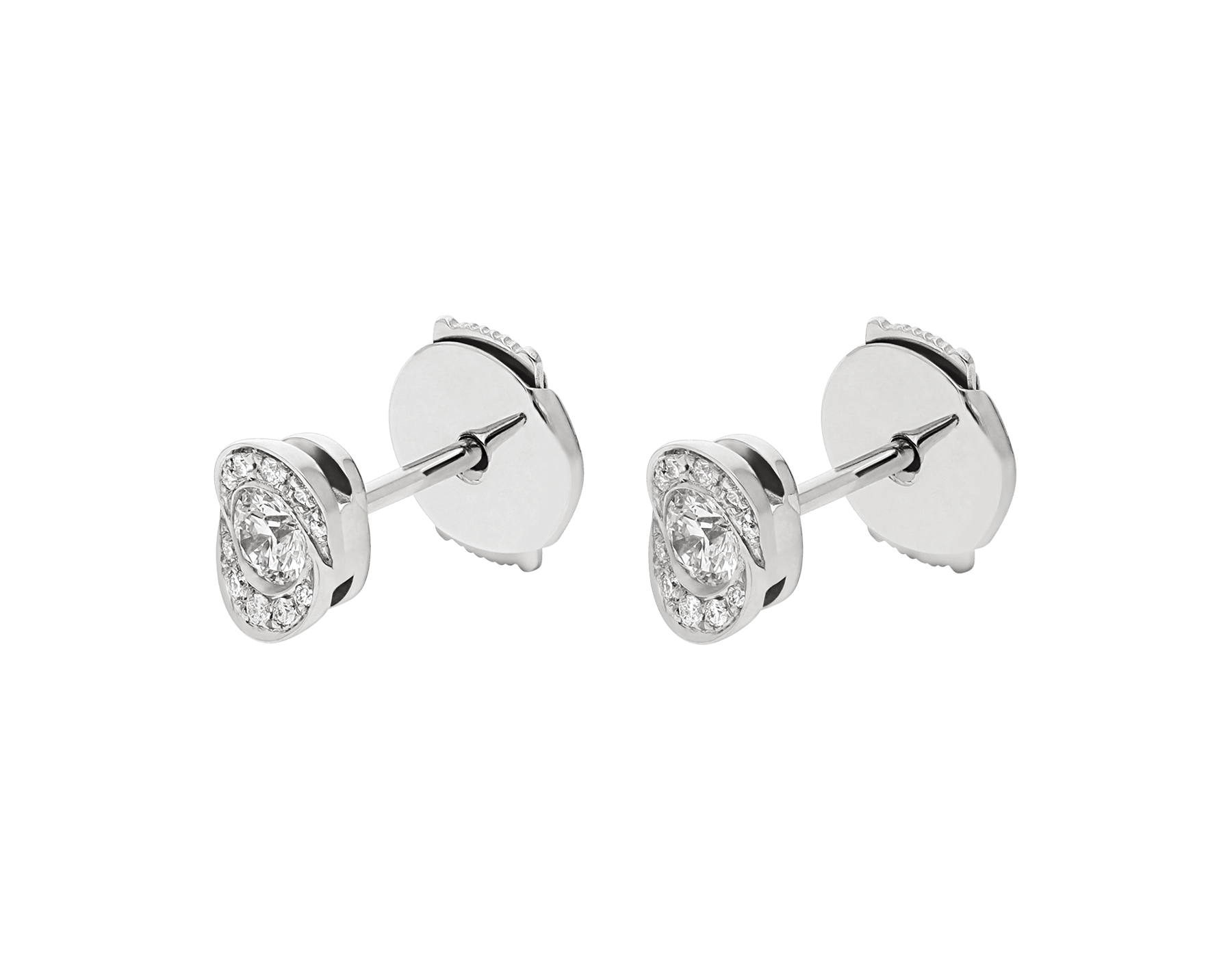 Incontro d'Amore earrings in 18 kt white gold set with two central diamonds and pavé diamonds. 355250 image 2