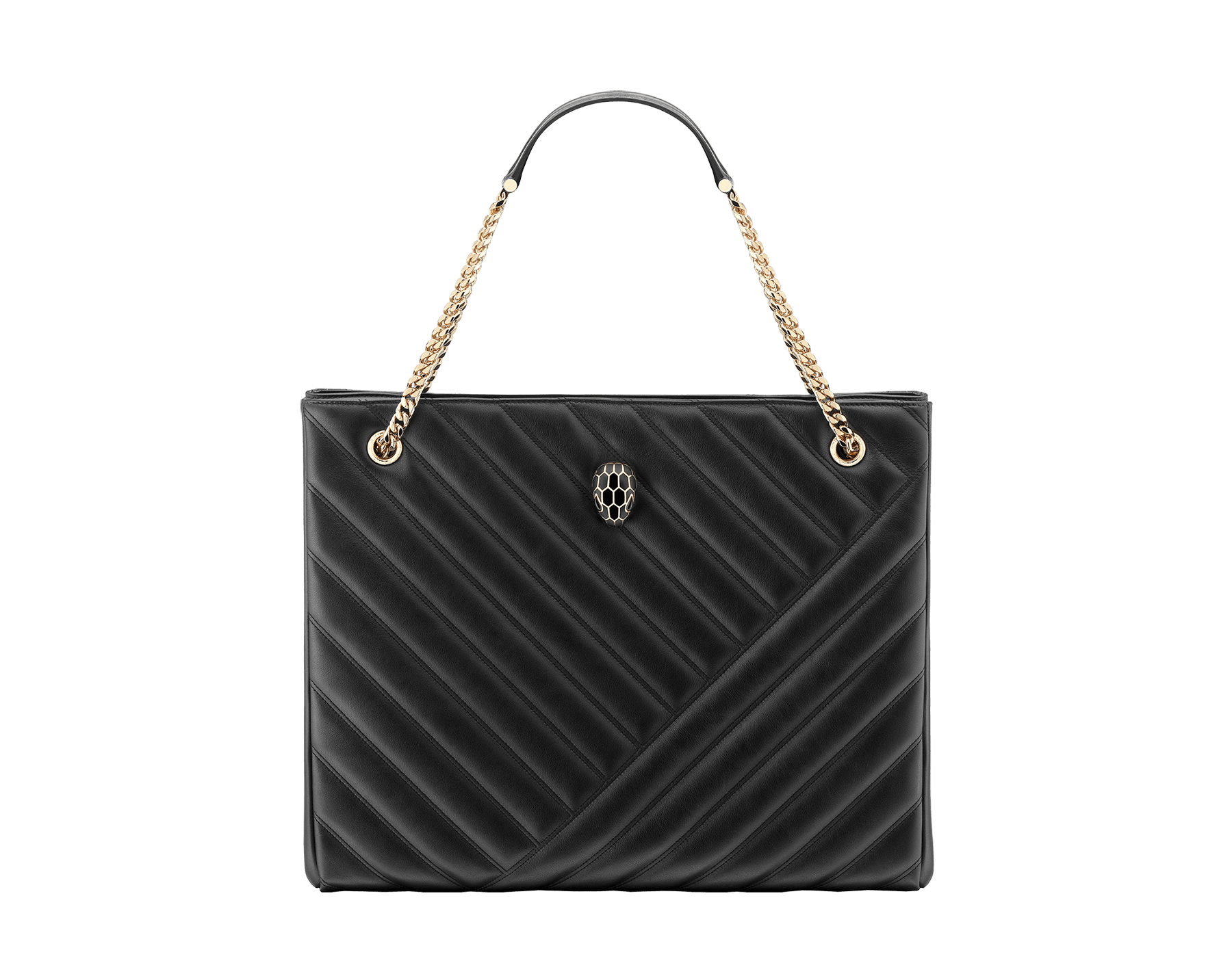 Serpenti Cabochon tote bag in soft matelassé black nappa leather with graphic motif and black calf leather. Snakehead decòr in rose gold plated brass embellished with matte black and shiny black enamel, and black onyx eyes. 287996 image 1