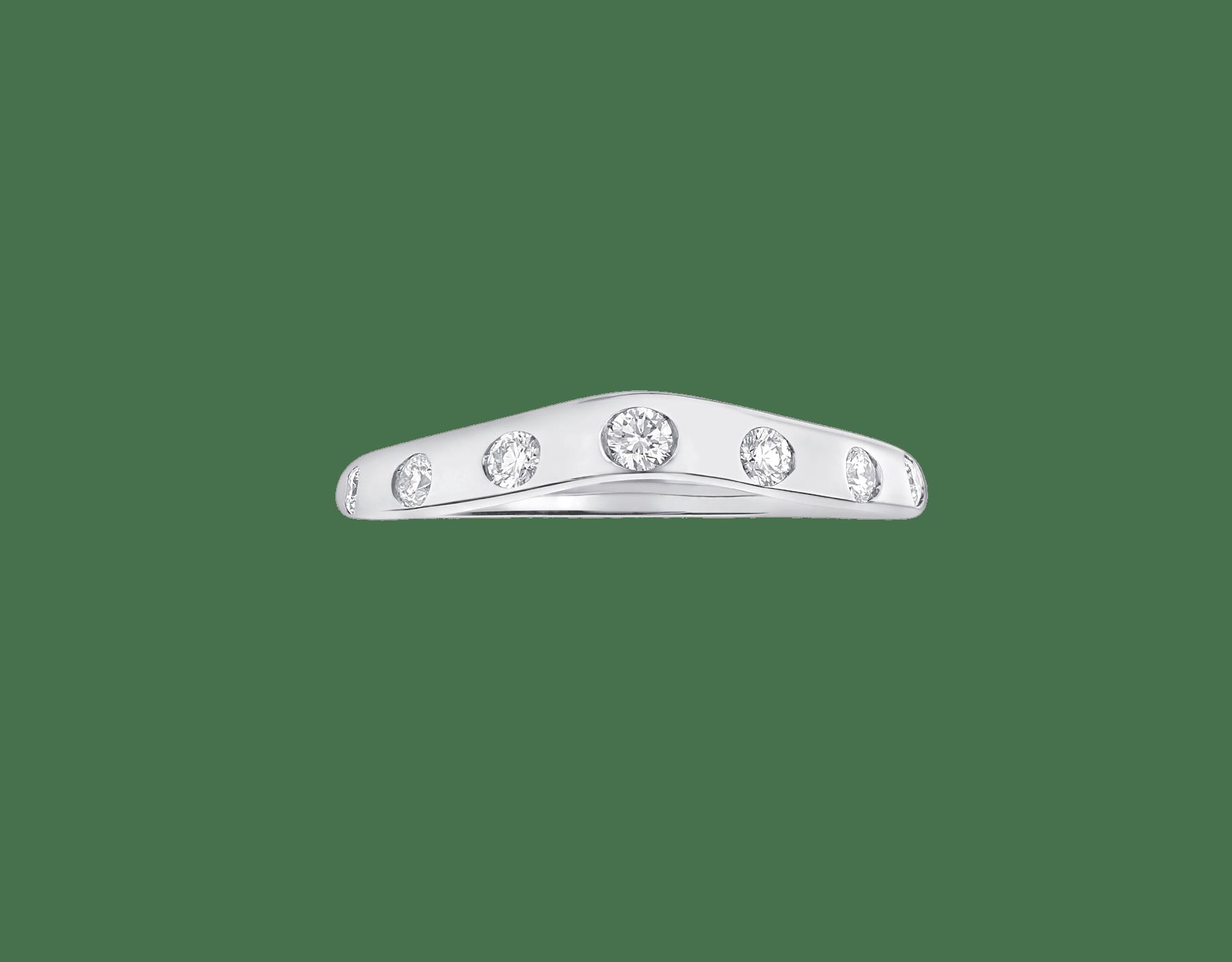 フェディ ウェディング・リング。ダイヤモンド7個を配したプラチナ製。 Corona-2 image 2