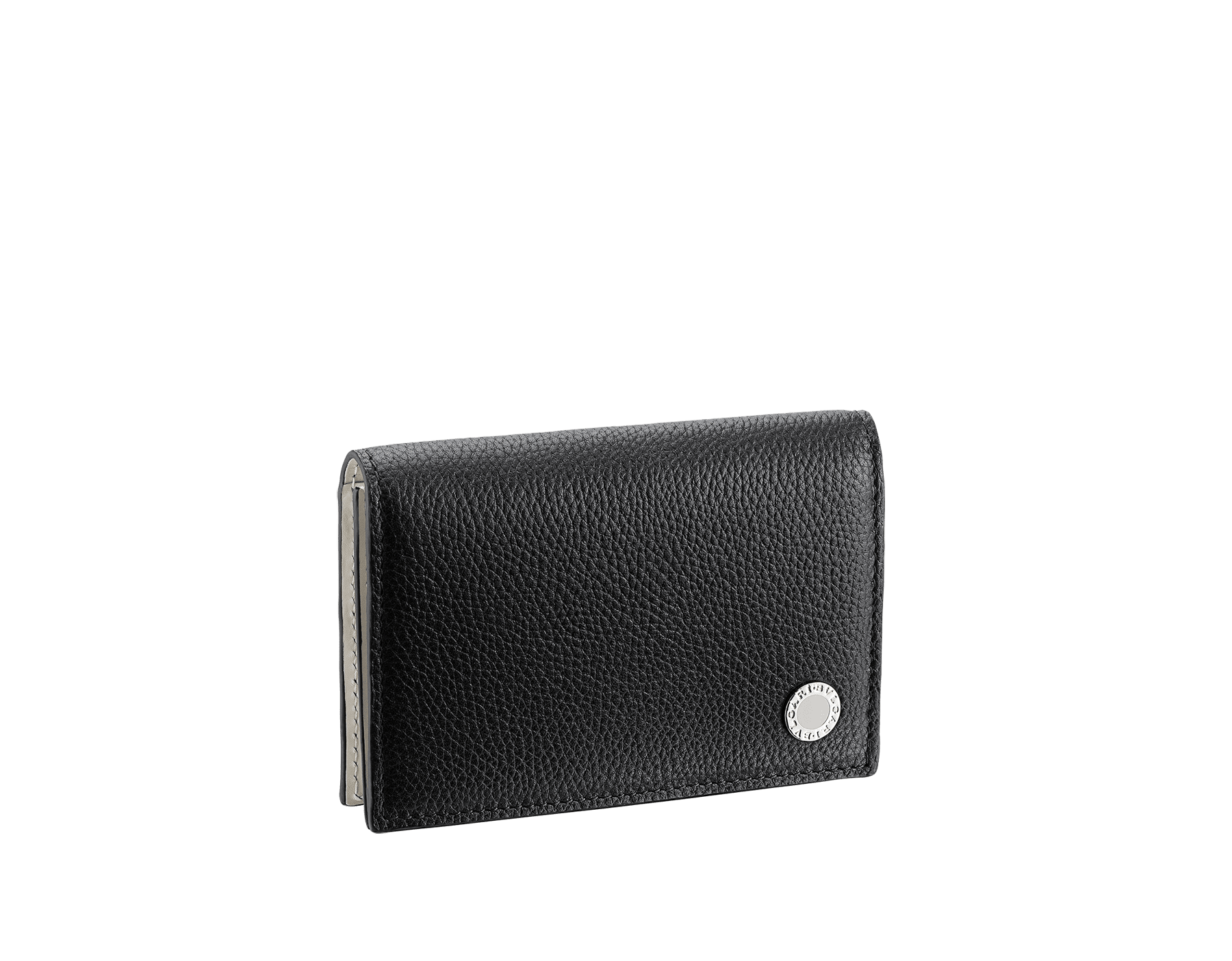 """BVLGARI BVLGARI"" business card holder in black soft full grain calf leather and white agate calf leather, with brass palladium plated logo décor coloured in white agate enamel. 290081 image 1"