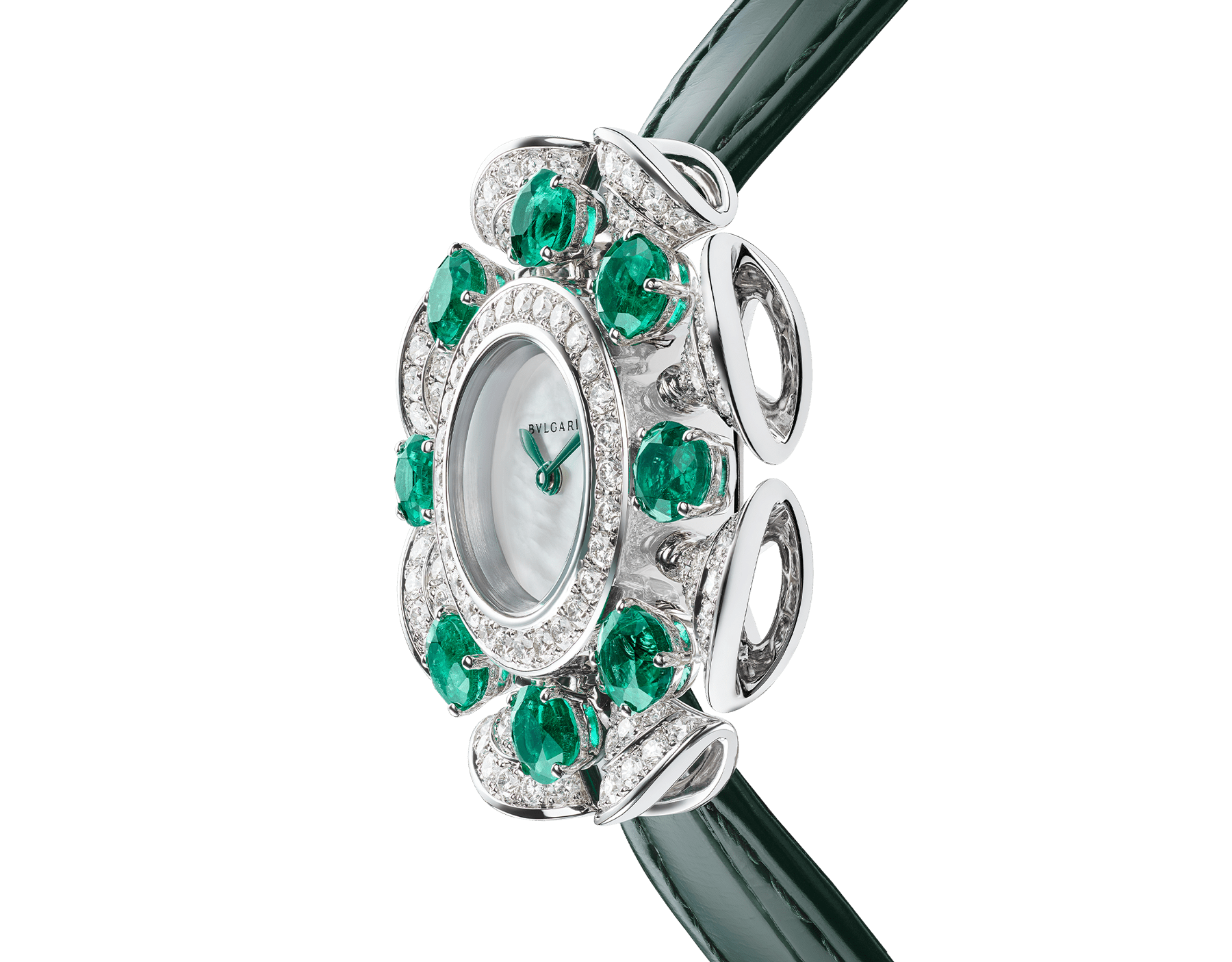 DIVAS' DREAM Divissima High Jewellery watch with 18 kt white gold case and mobile petals set with 8 brilliant-cut emeralds and round brilliant-cut diamonds, mother-of-pearl dial, and green alligator bracelet. Water-resistant up to 30 metres 103505 image 2