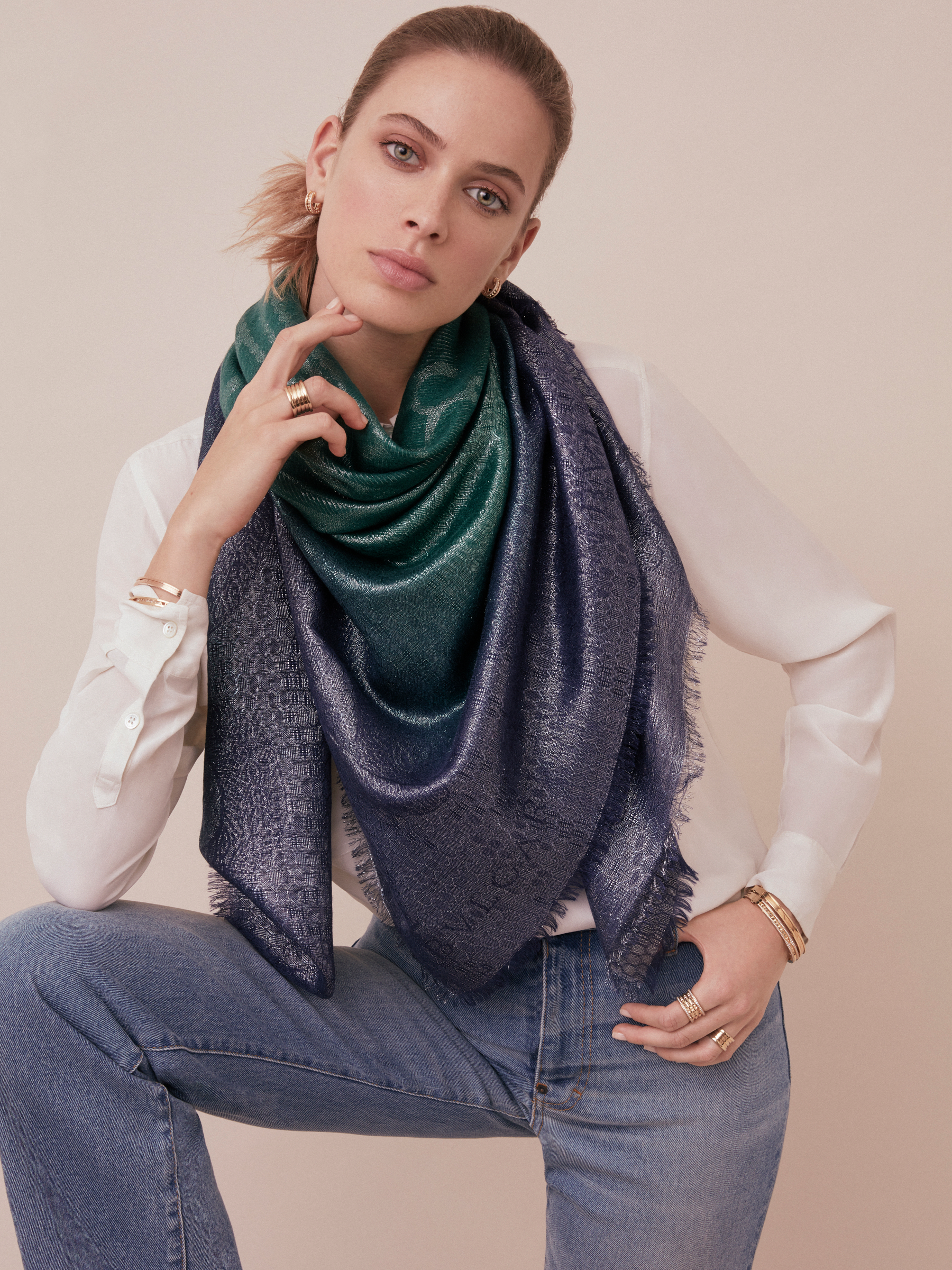 "Crystal rose ""SNAKE SPARKING"" scarf in fine wool, silk, cashmere and lurex SNAKESPARKLING image 2"