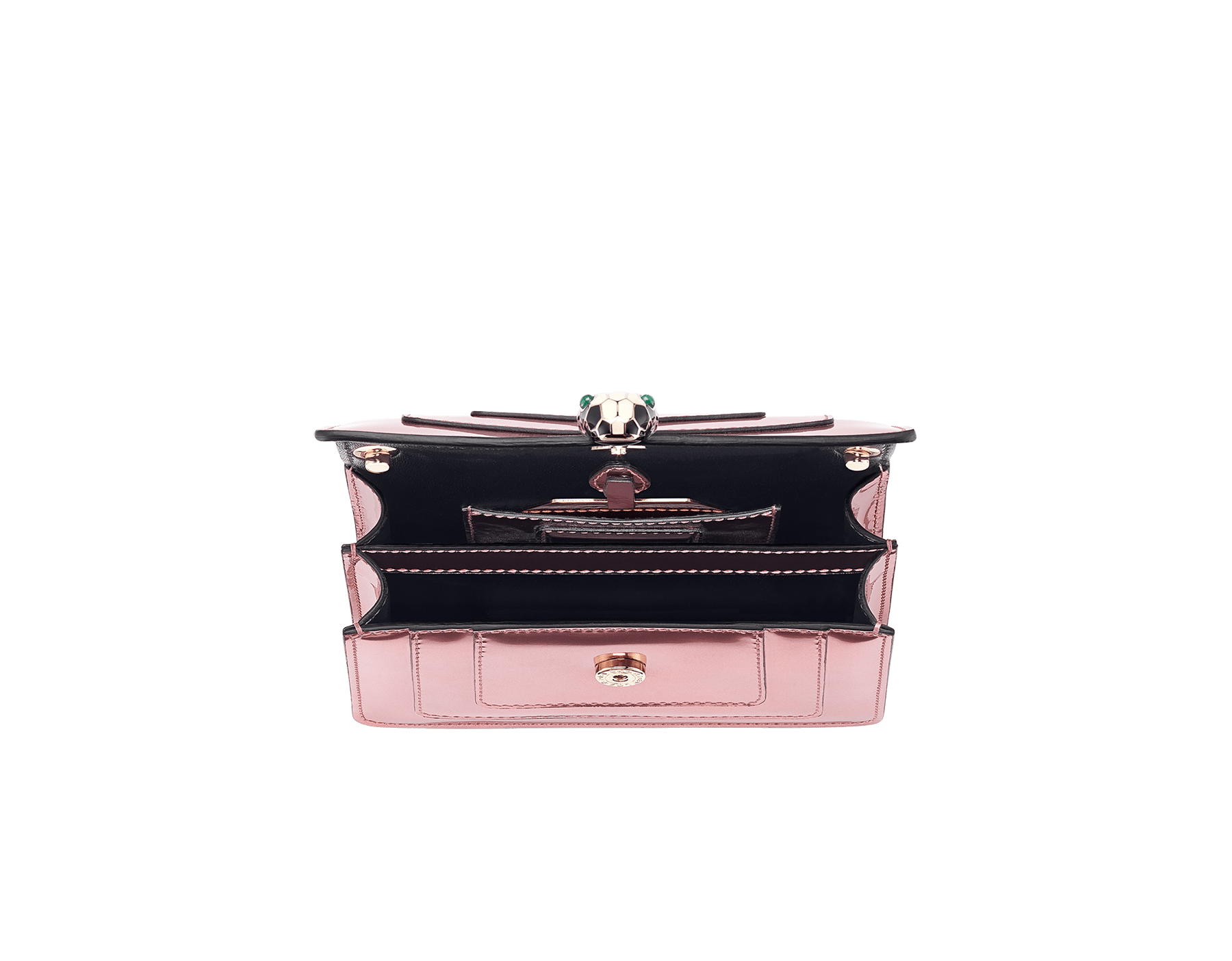 Serpenti Forever mini crossbody bag in sunset rose brushed metallic calf leather. Brass light gold-plated snake head closure in black and white enamel, with green malachite eyes. 288052 image 4