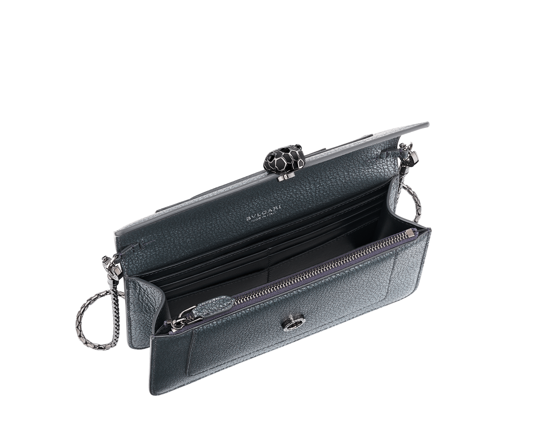 """Serpenti Forever"" new chain wallet in Charcoal Diamond gray goatskin with a pearled effect and black nappa leather. Dark ruthenium-plated brass iconic snakehead stud closure enameled in matte and shiny black, finished with black onyx eyes. SEA-CHAINPOCHETTE-PSL image 2"