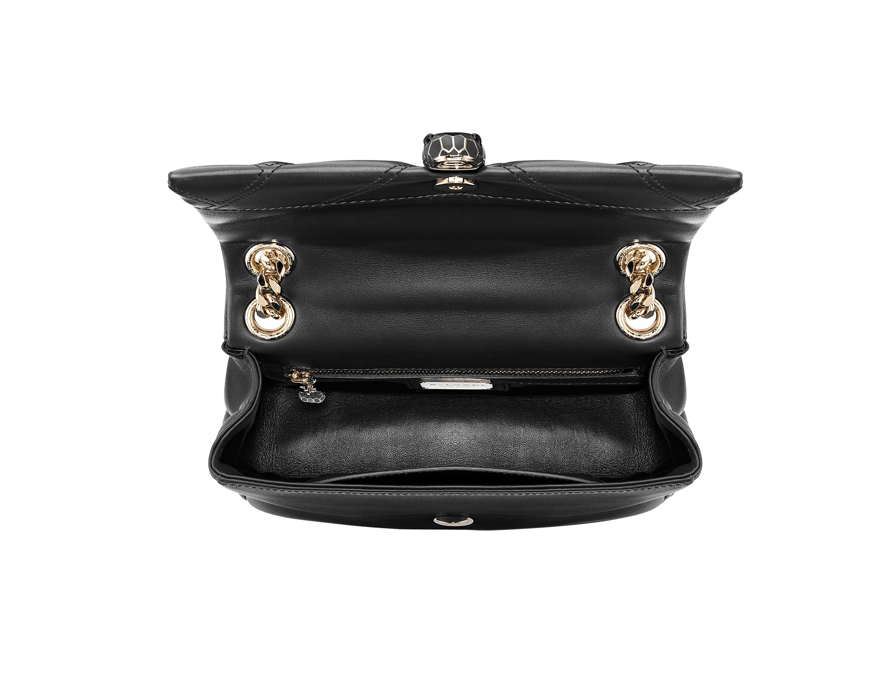 Serpenti Cabochon shoulder bag in soft matelassé black nappa leather with graphic motif and black calf leather. Snakehead closure in rose gold plated brass decorated with matte black and shiny black enamel, and black onyx eyes. 287987 image 3