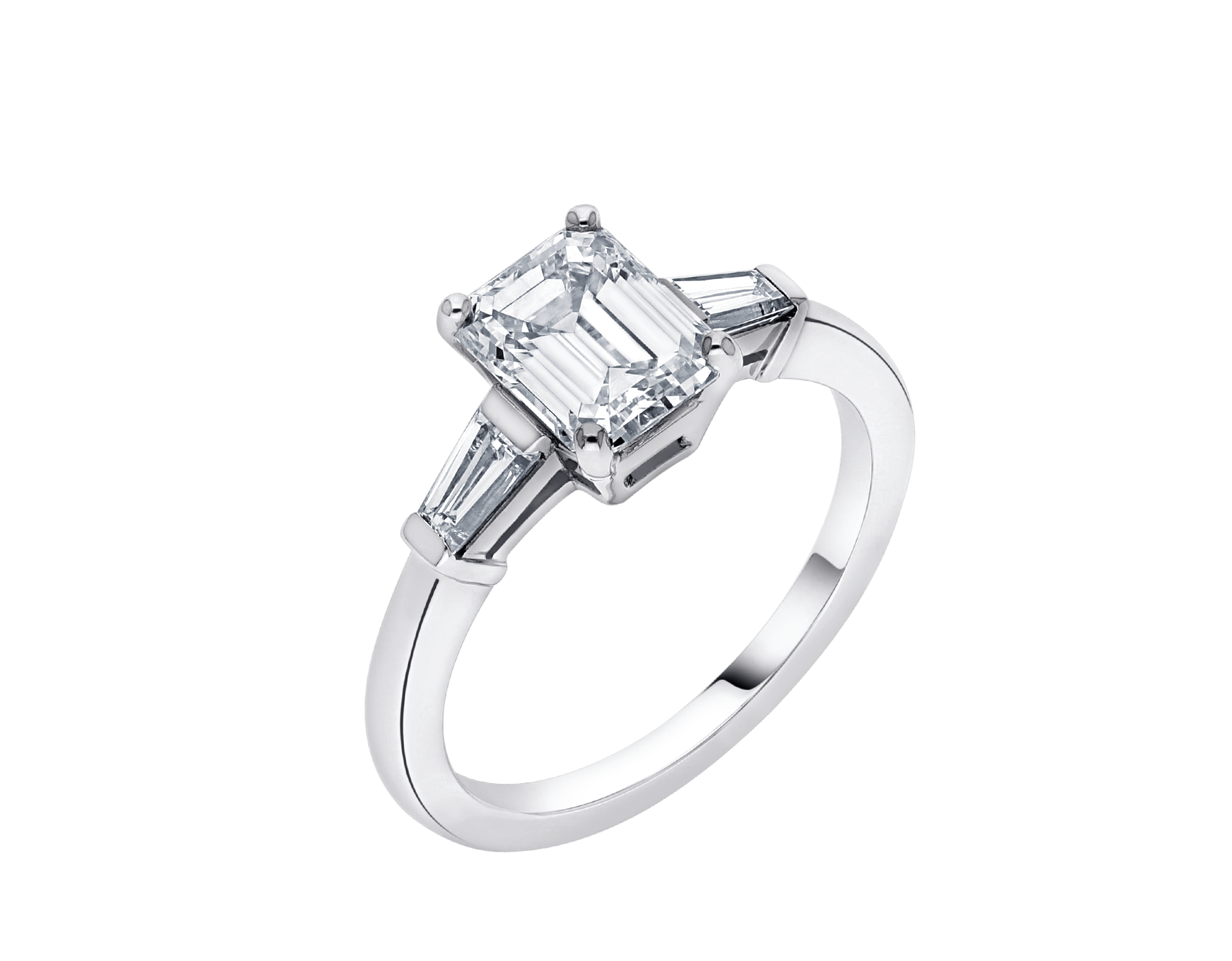 Griffe solitaire ring in platinum with one emerald cut diamond and two side diamonds 331649 image 2