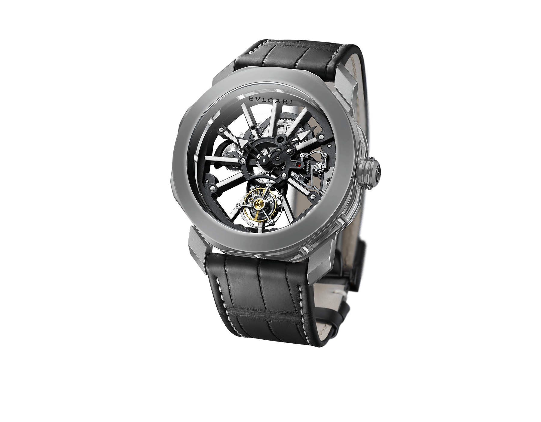 Octo Tourbillon Sapphire watch with manufacture mechanical movement, flying tourbillon, manual winding, sandblasted titanium case and caliber, rhodium plated bridges decorated with white luminiscent bar-indexes in ITR2& SLN®, sapphire middle case and black rubberized alligator bracelet 103032 image 1