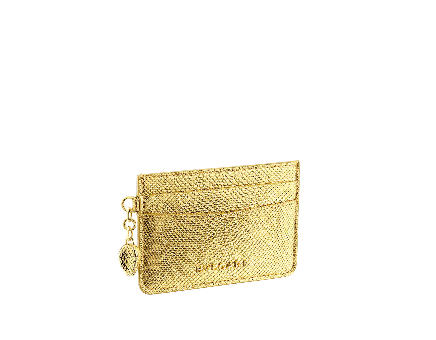 """Serpenti Forever"" card holder in ""Molten"" gold karung skin, offering a touch of radiance for the Winter Holidays. New Serpenti head charm in gold-plated brass, complete with ruby-red enamel eyes. 290504 image 1"