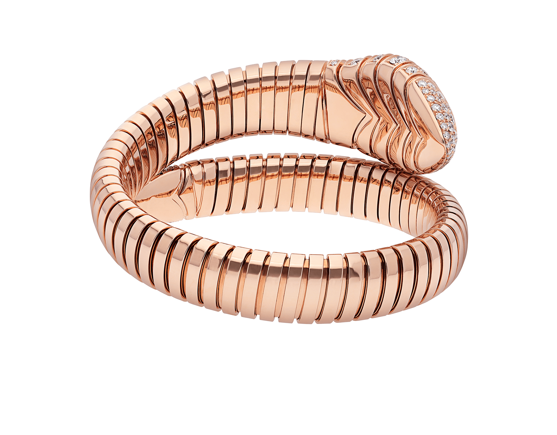Serpenti Tubogas single spiral bracelet in 18 kt rose gold, set with pavé diamonds on the head and the tail. BR856845 image 3