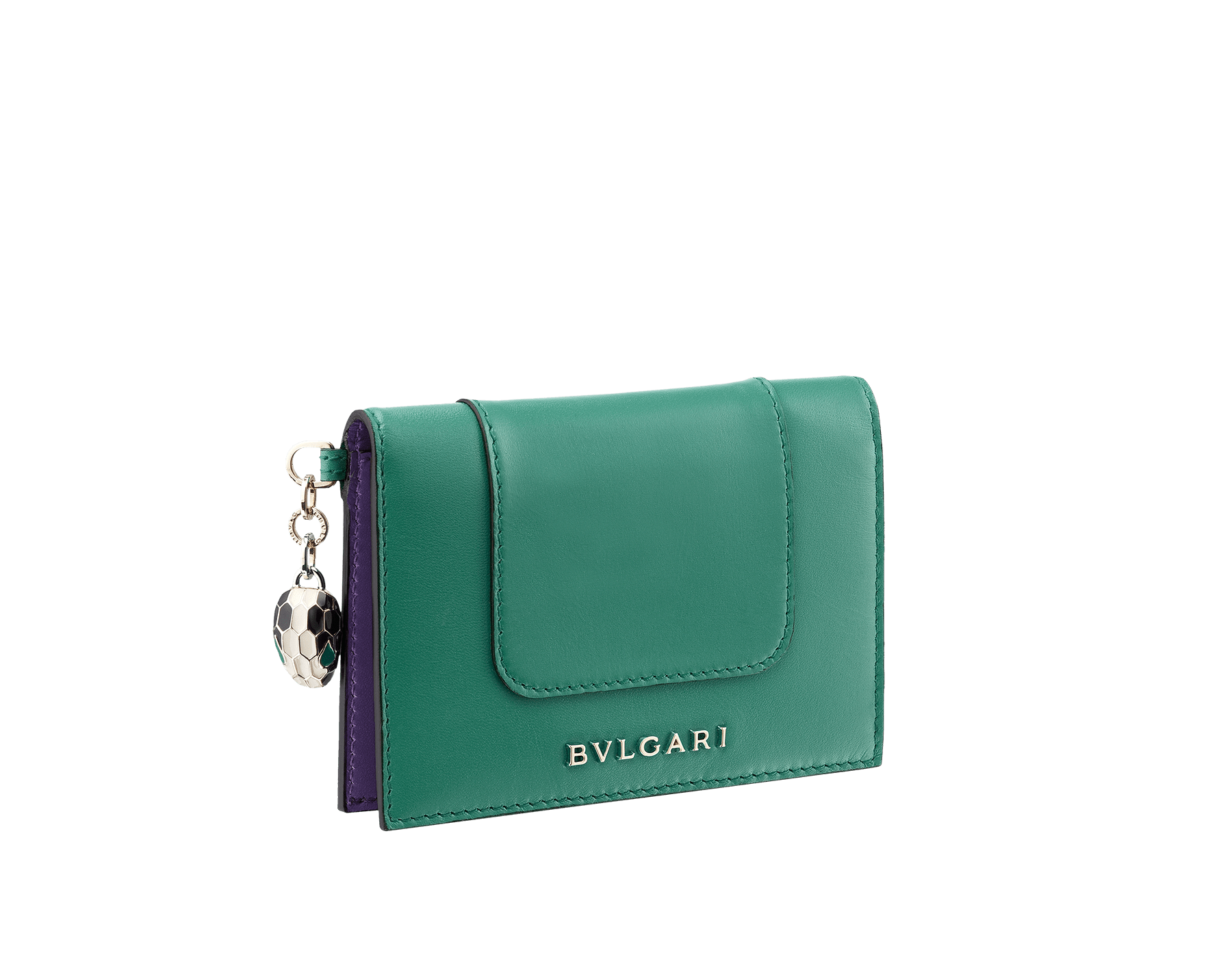 Serpenti Forever folded credit card holder in crystal rose calf leather. Iconic snakehead charm in black and white enamel, with green malachite enamel eyes. SEA-CC-HOLDER-FOLD-CLb image 1