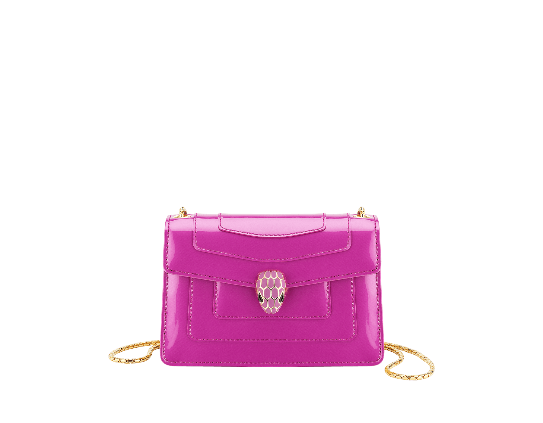 """Serpenti Forever"" crossbody mini bag in Magenta Spinel purple with a varnished and pearled effect, and black gros grain internal lining. Brass gold plated snakehead closure in full matte Magenta Spinel purple enamel, with black onyx eyes. Chinese New Year Special Edition. 986-VCL image 1"