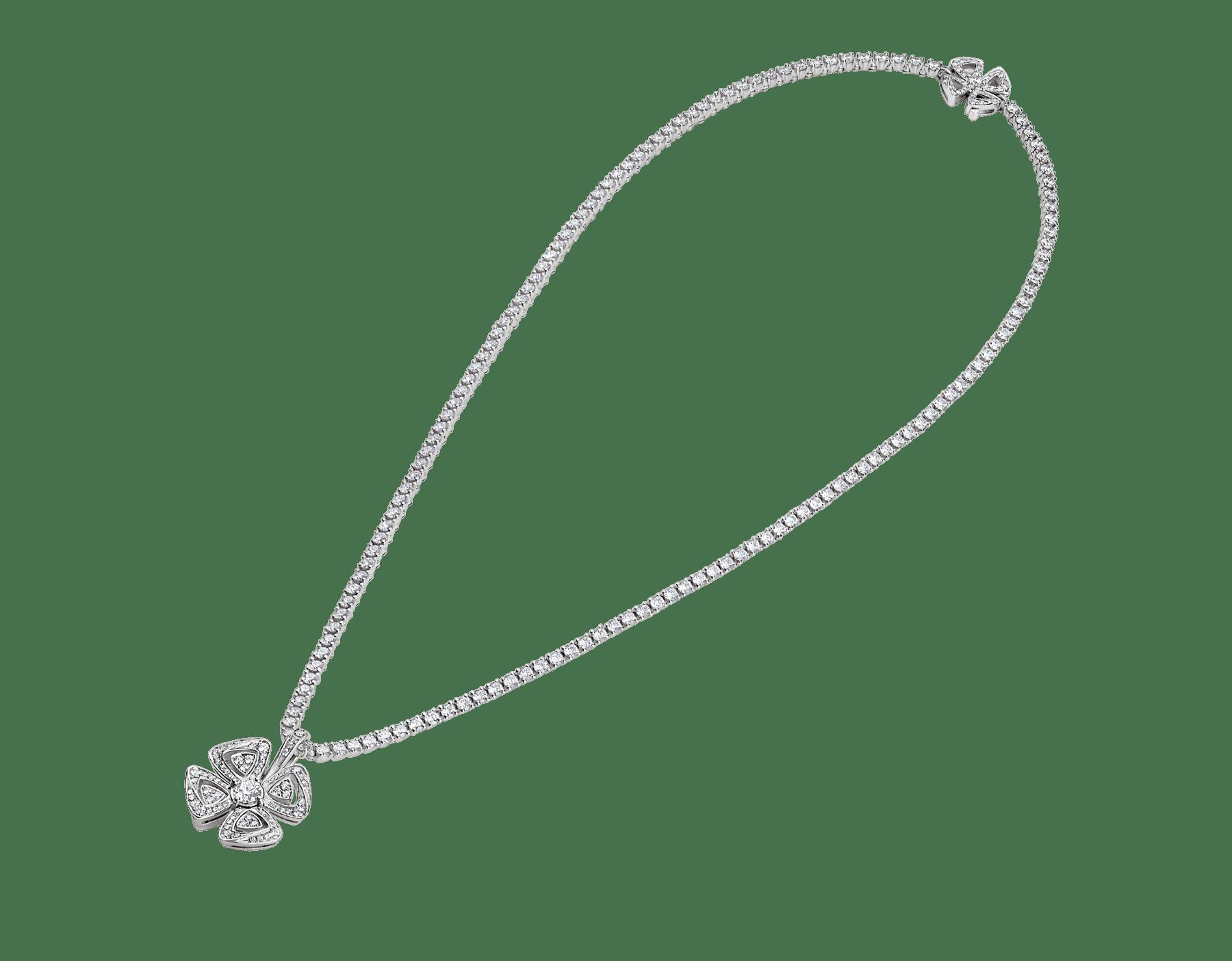 Fiorever 18 kt white gold convertible pendant necklace set with brilliant-cut diamonds (5.55 ct) and pavé diamonds (0.41 ct) 358351 image 2
