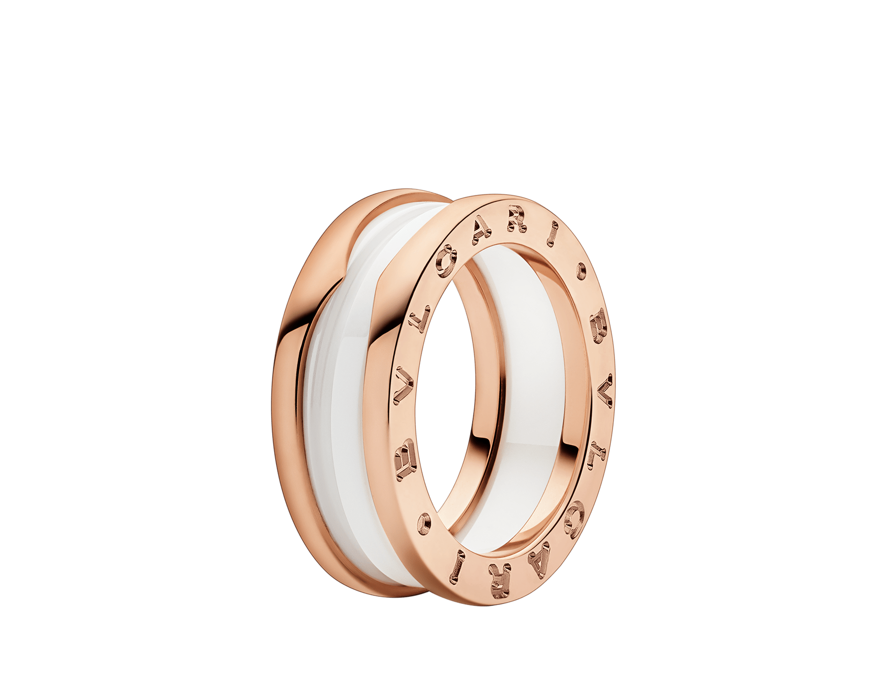 B.zero1 two-band ring with two 18 kt rose gold loops and a white ceramic spiral. B-zero1-2-bands-AN855964 image 1