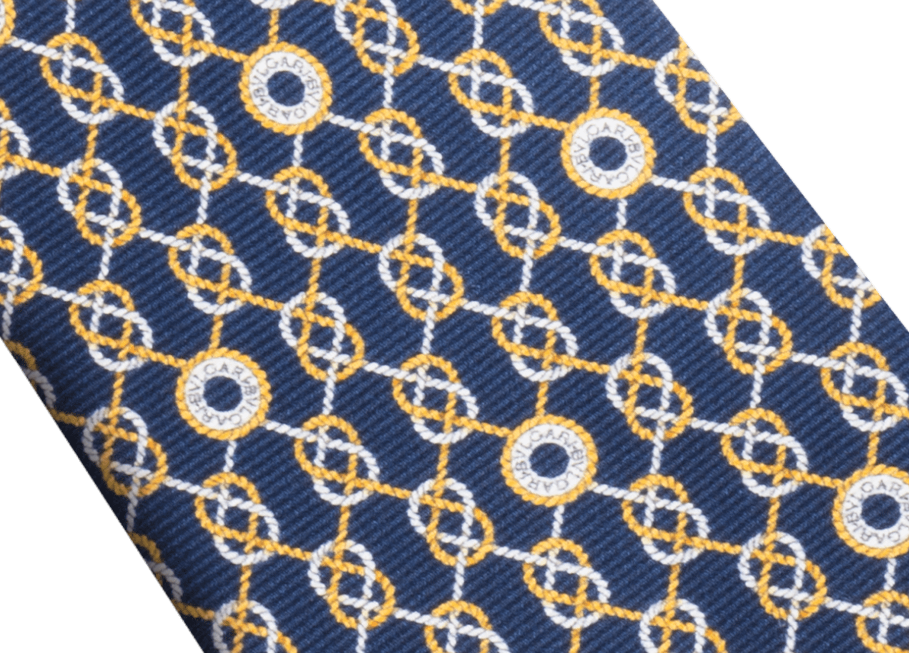 Navy Sailor Logo pattern seven-fold tie in fine saglione printed silk. 244199 image 2