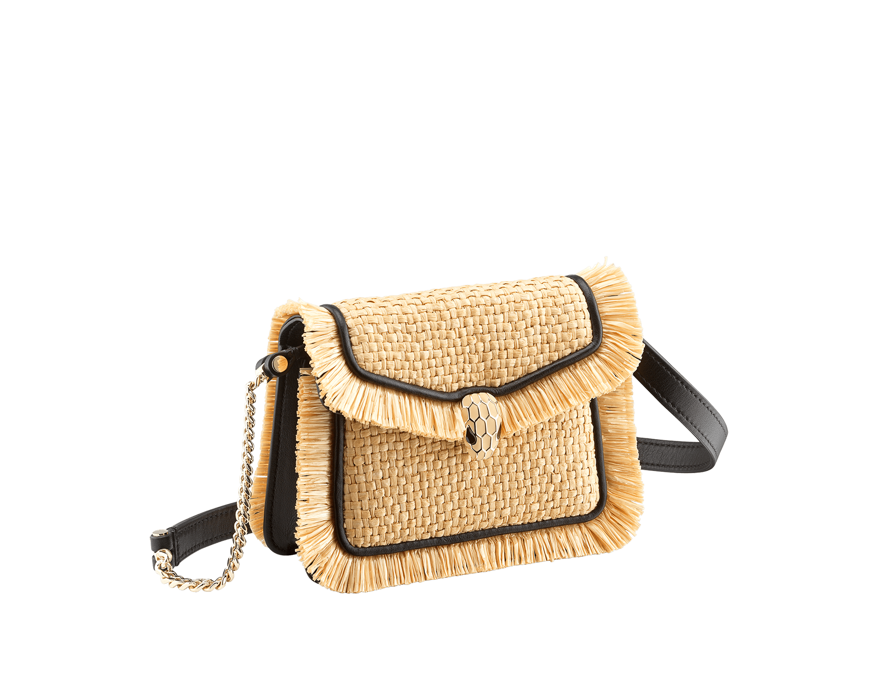 """Serpenti Forever"" mini bag in beige raffia and black calfskin frames enhanced with beige raffia fringes, and black nappa leather internal lining. Light gold-plated brass snakehead closure enhanced with full matte Natural beige enamel and black onyx eyes. 290968 image 1"