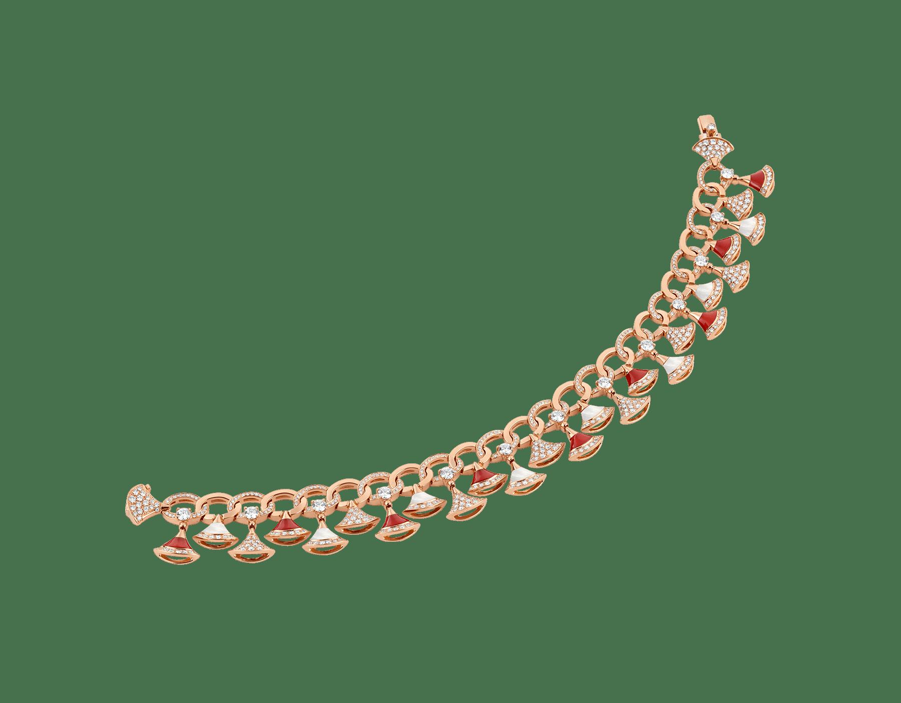 Pulsera DIVAS' DREAM en oro rosa de 18 qt con elementos de cornalina y madreperla, diamantes y pavé de diamantes (4,30 ct). BR858051 image 2