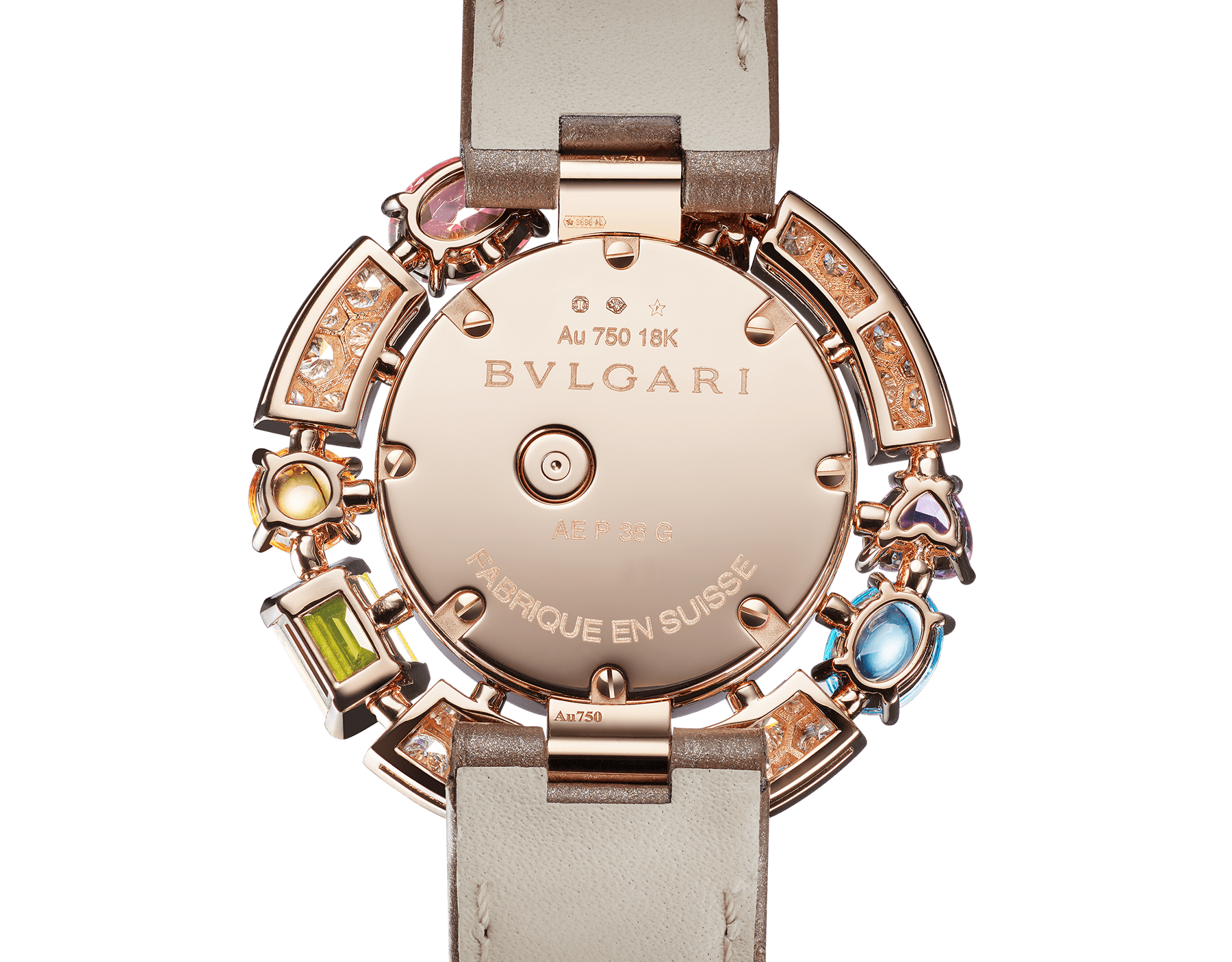 Allegra High Jewelry watch with 18 kt rose gold case set with brilliant-cut diamonds, two citrines, two amethysts, a peridot, two blue topazes and a rhodolite, mother-of-pearl dial, diamond indexes and shiny taupe alligator bracelet. Water-resistant up to 30 meters. 103493 image 4