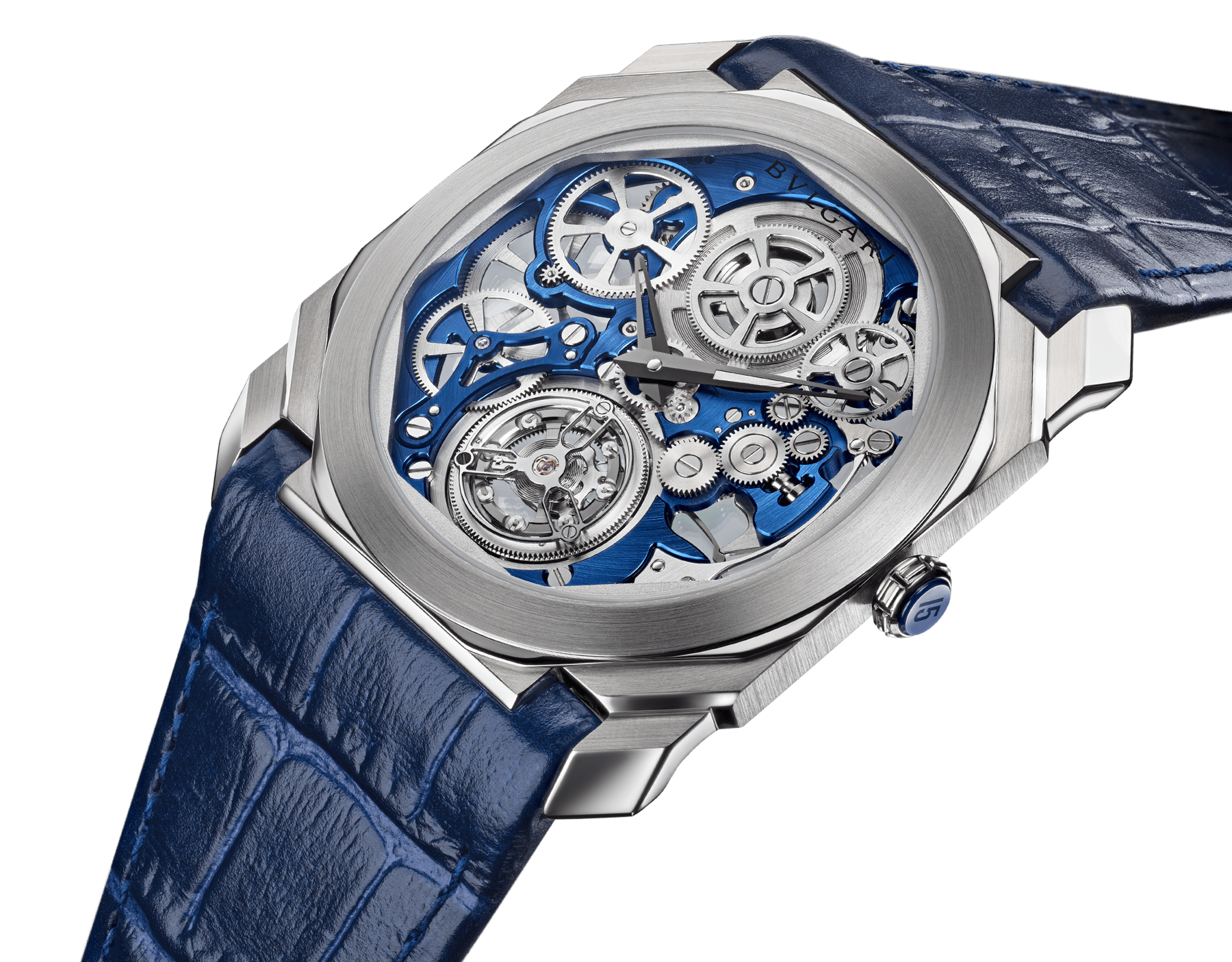 Octo Finissimo Tourbillon Skeleton watch with extra-thin mechanical movement with manual winding and flying tourbillon, 40 mm platinum case with transparent case back, platinum crown with blue ceramic insert, blue skeletonized caliber, blue alligator bracelet and platinum ardillon buckle 103188 image 2