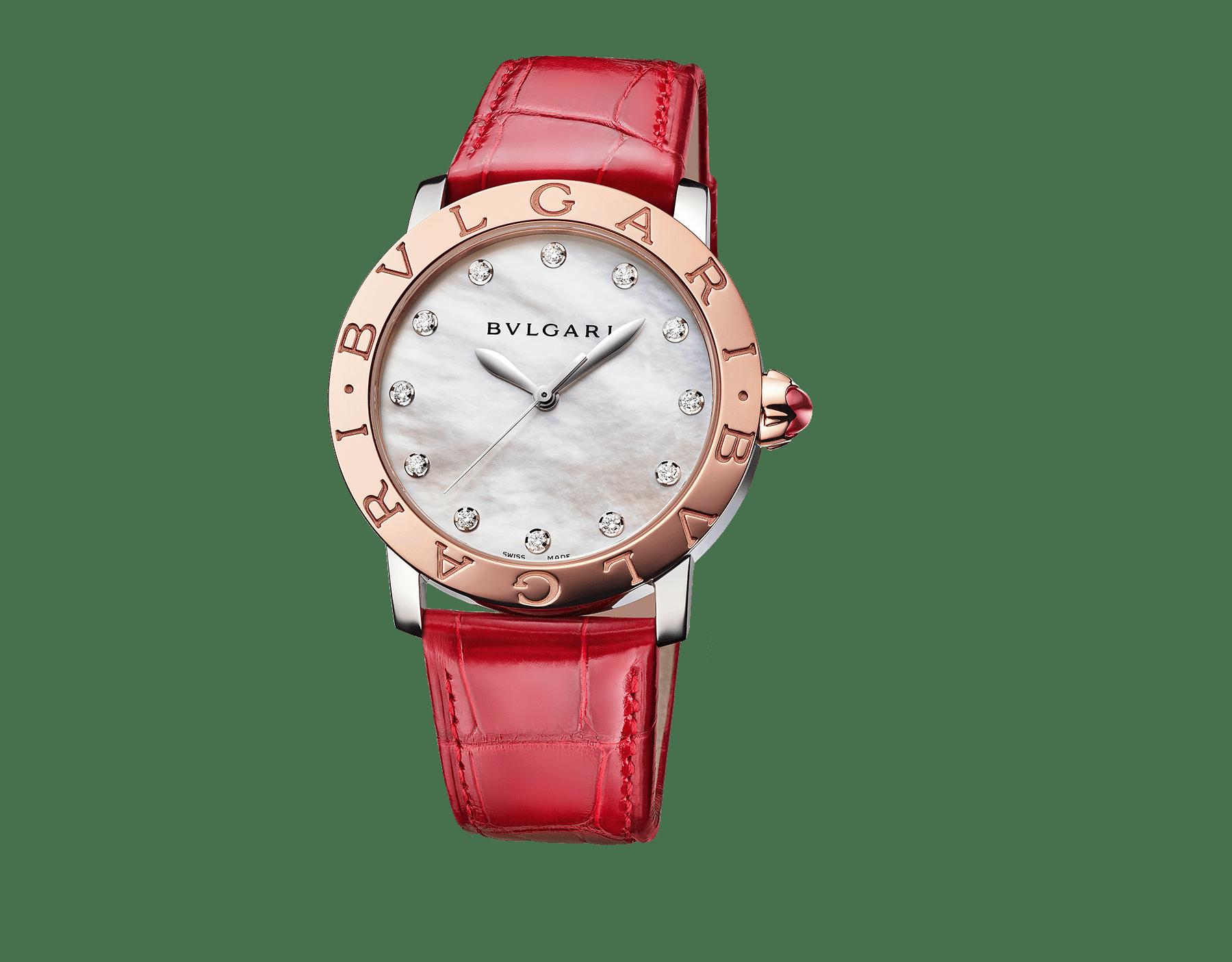 Reloj BVLGARI BVLGARI con caja en acero inoxidable, bisel en oro rosa de 18qt, esfera de madreperla blanca, diamantes engastados como índices y correa de piel de aligátor roja brillante. 102744 image 1