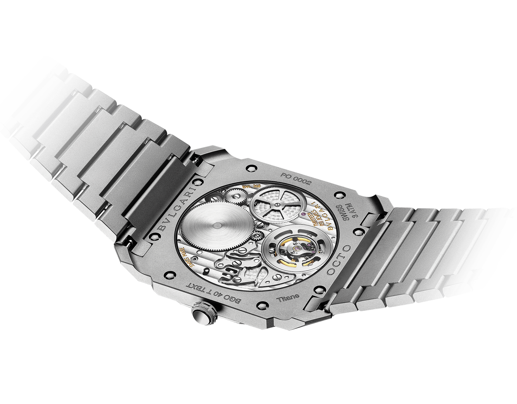 Octo Finissimo Tourbillon watch with mechanical manufacture movement, flying see-through tourbillon, manual winding, sandblasted titanium ultra-thin case, dial and bracelet 103016 image 2