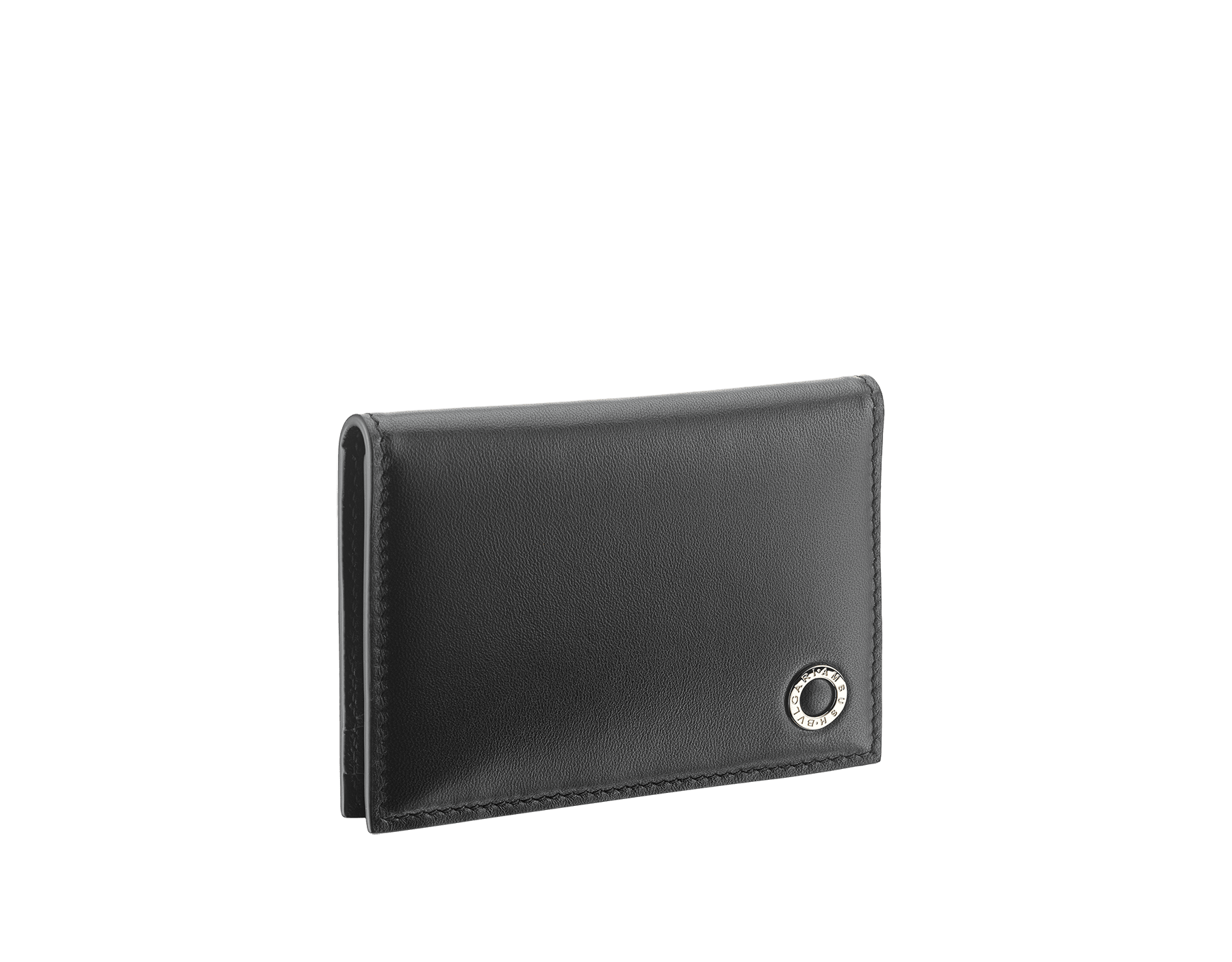 """Ambush x Bvlgari"" vertical card holder in bright green and black nappa leather. Palladium plated brass ""BVLGARI AMBUSH"" décor on one side and special ""BVLGARI AMBUSH"" logo print on the other. Limited Edition. YA-VERTICALCCH image 1"