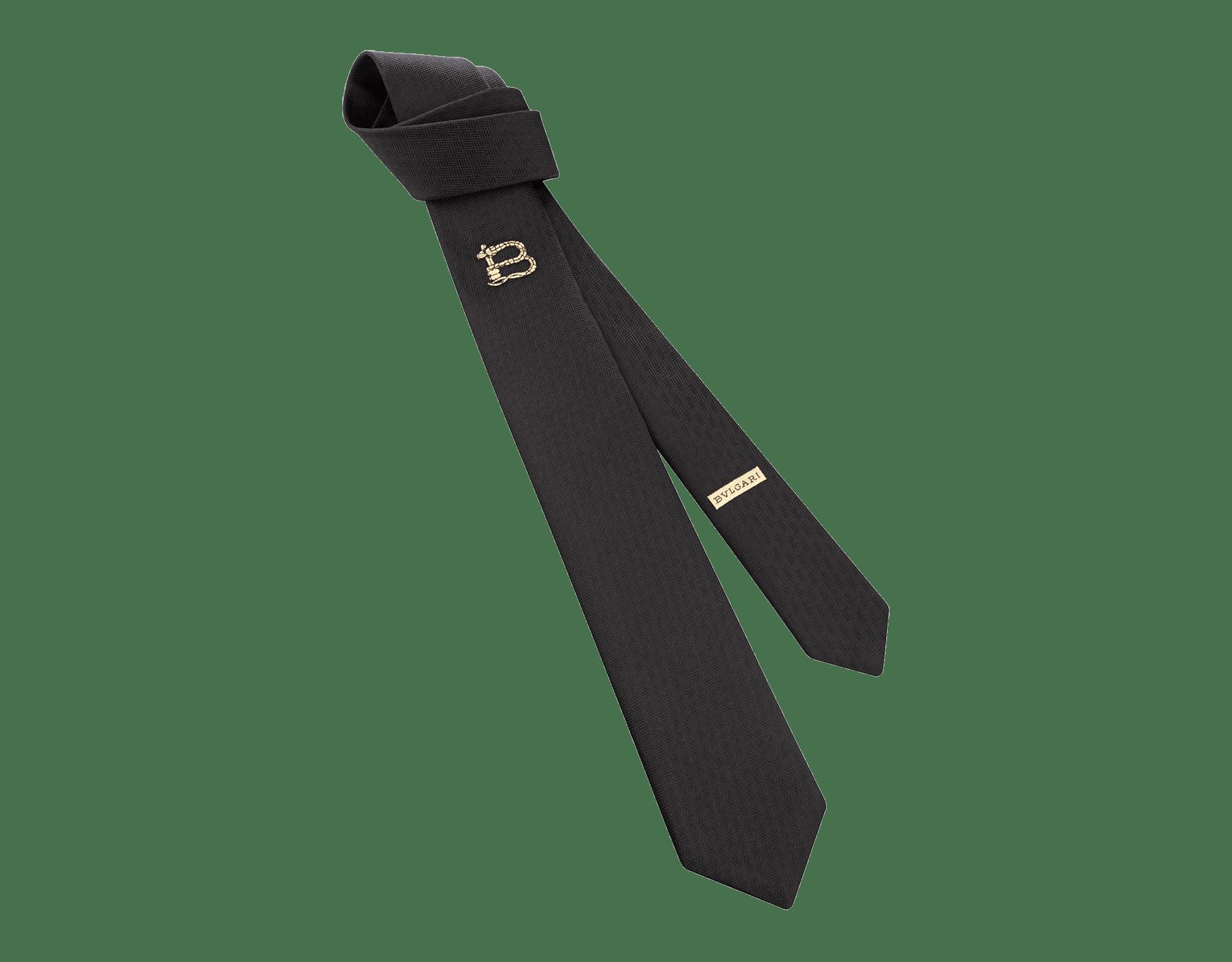 "Navy ""B3D"" pattern tie in fine jacquard silk. B3D image 1"