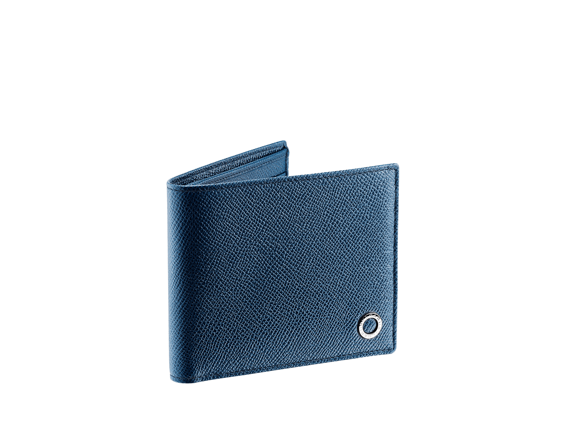 Wallet hipster for men in denim sapphire grain calf leather with brass palladium plated hardware featuring the BVLGARI BVLGARI motif. Eight credit card slots, two bill compartments and four inside compartments. 39320 image 1