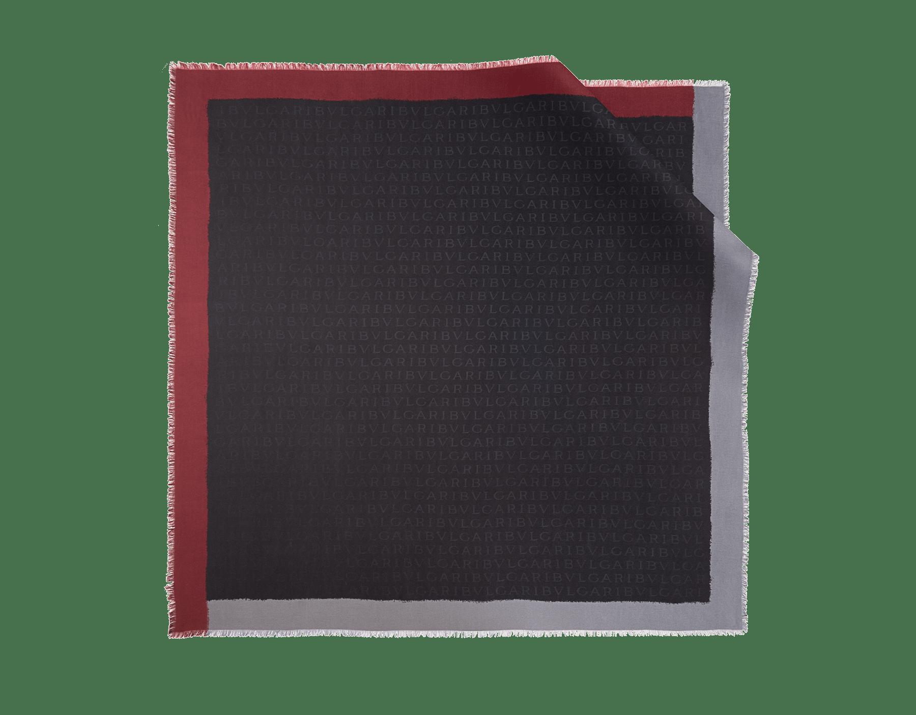 "Black ""Logoquadro"" scarf in fine silk wool. LOGOQUADRO image 1"