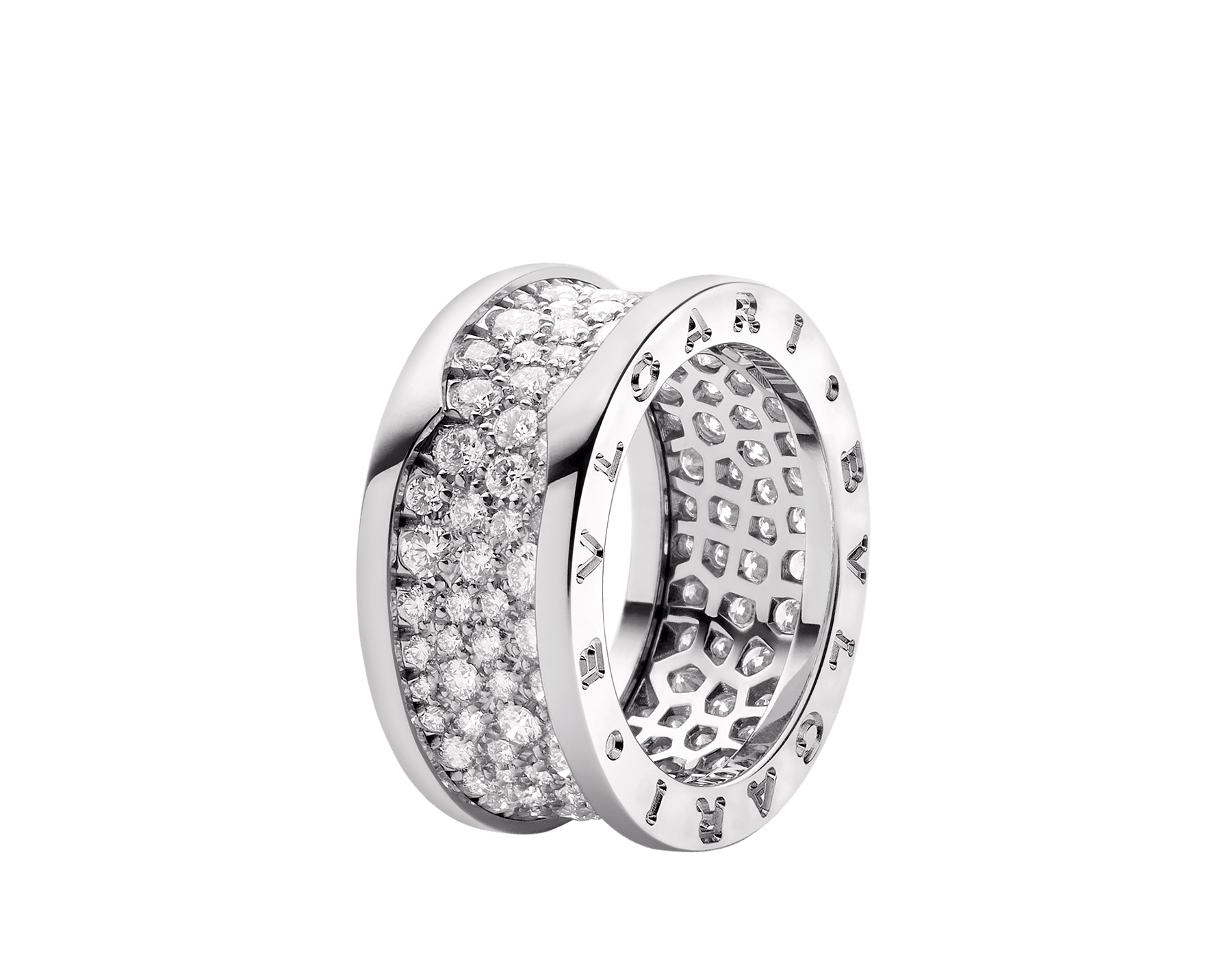 B.zero1 ring in 18 kt white gold, set with pavé diamonds on the spiral. AN855552 image 1
