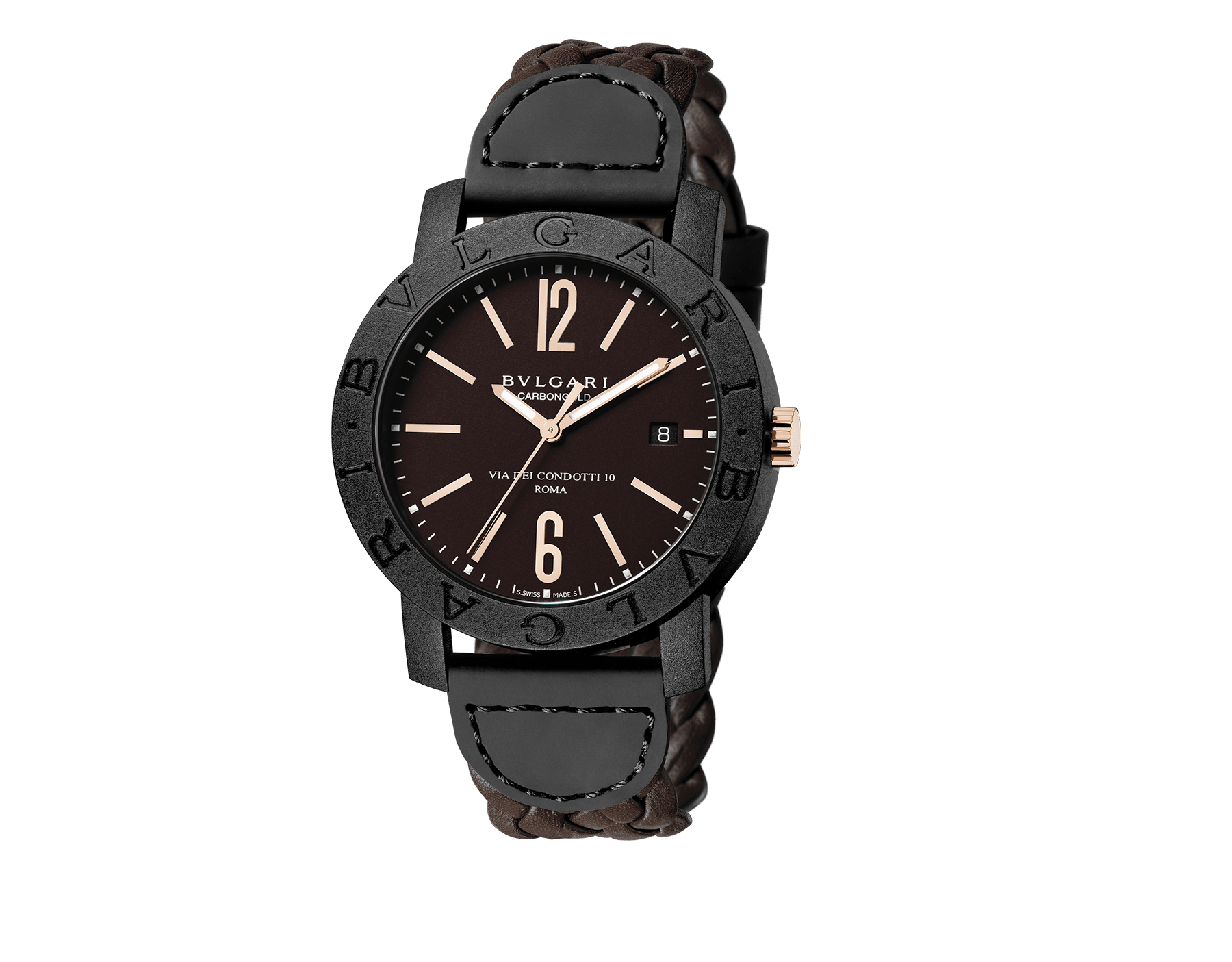 BVLGARI BVLGARI CARBON GOLD watch with mechanical movement, automatic winding and date, carbon gold case, brown dial and woven leather bracelet 102633 image 1