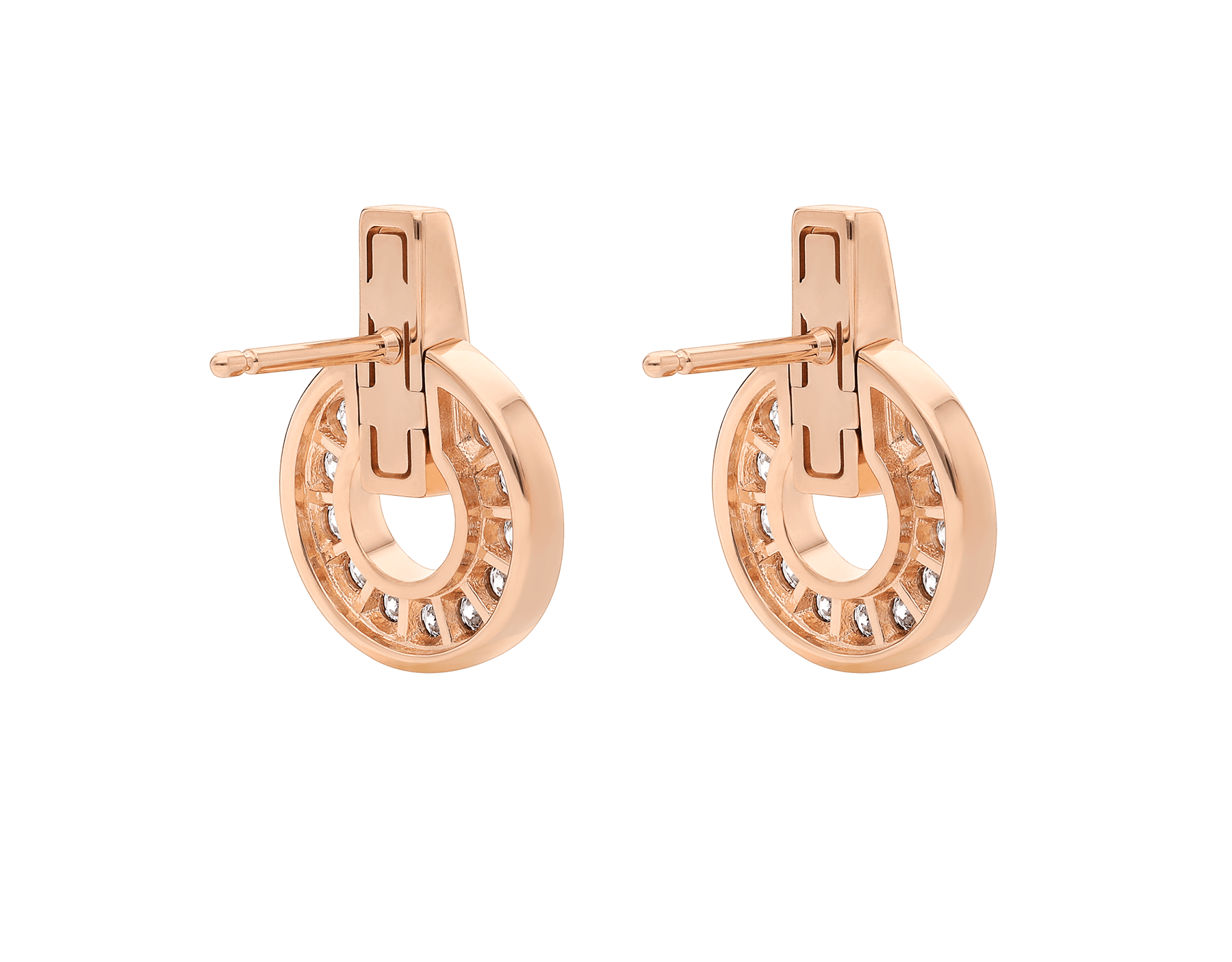 Brincos vazados BVLGARI BVLGARI em ouro rosa 18K completamente cravejados com pavê de diamantes 357318 image 3