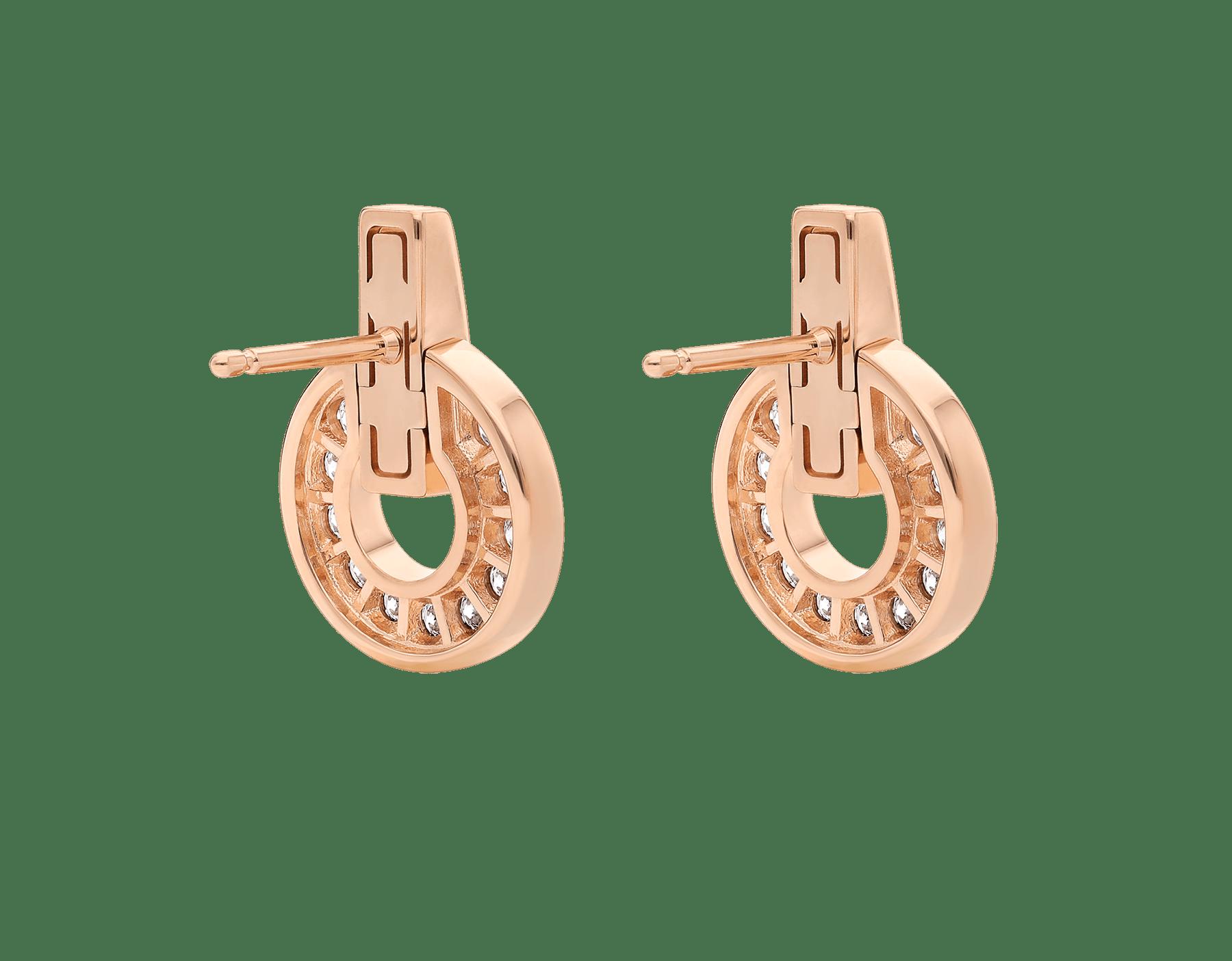 BVLGARI BVLGARI Openwork 18 kt rose gold earrings set with full pavé diamonds 357318 image 3
