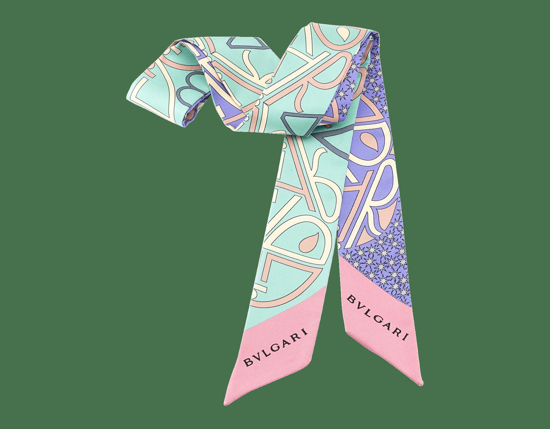 "Aquamarine light blue ""Tangram"" shelley in fine printed silk twill. TANGRAMSHELLEY image 1"