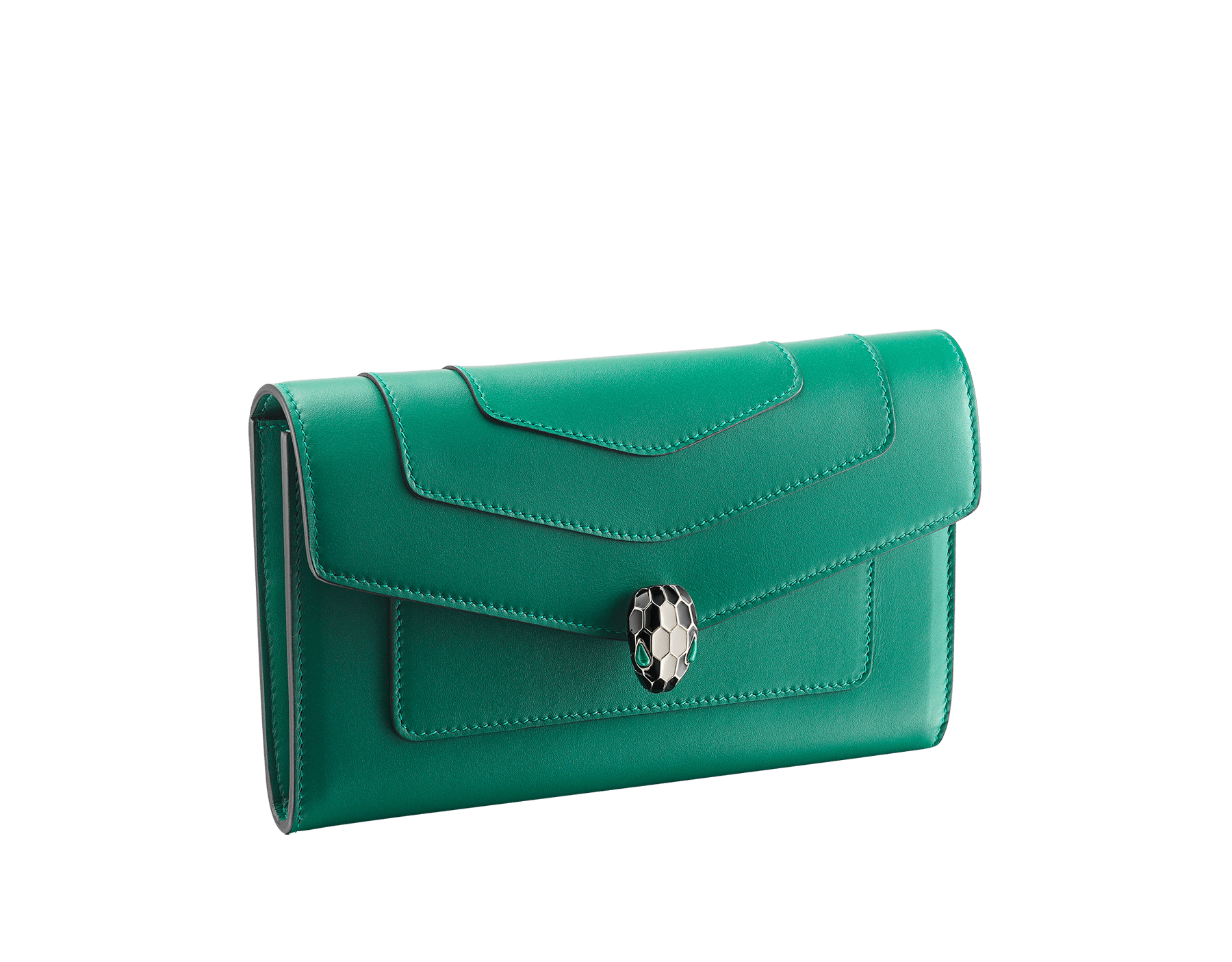 "New ""Serpenti Forever"" large wallet in soft emerald-green calfskin and black nappa leather. Iconic snakehead closure in light gold-plated brass with black and agate-white enamel and green malachite eyes. SEA-LONGWLT image 1"