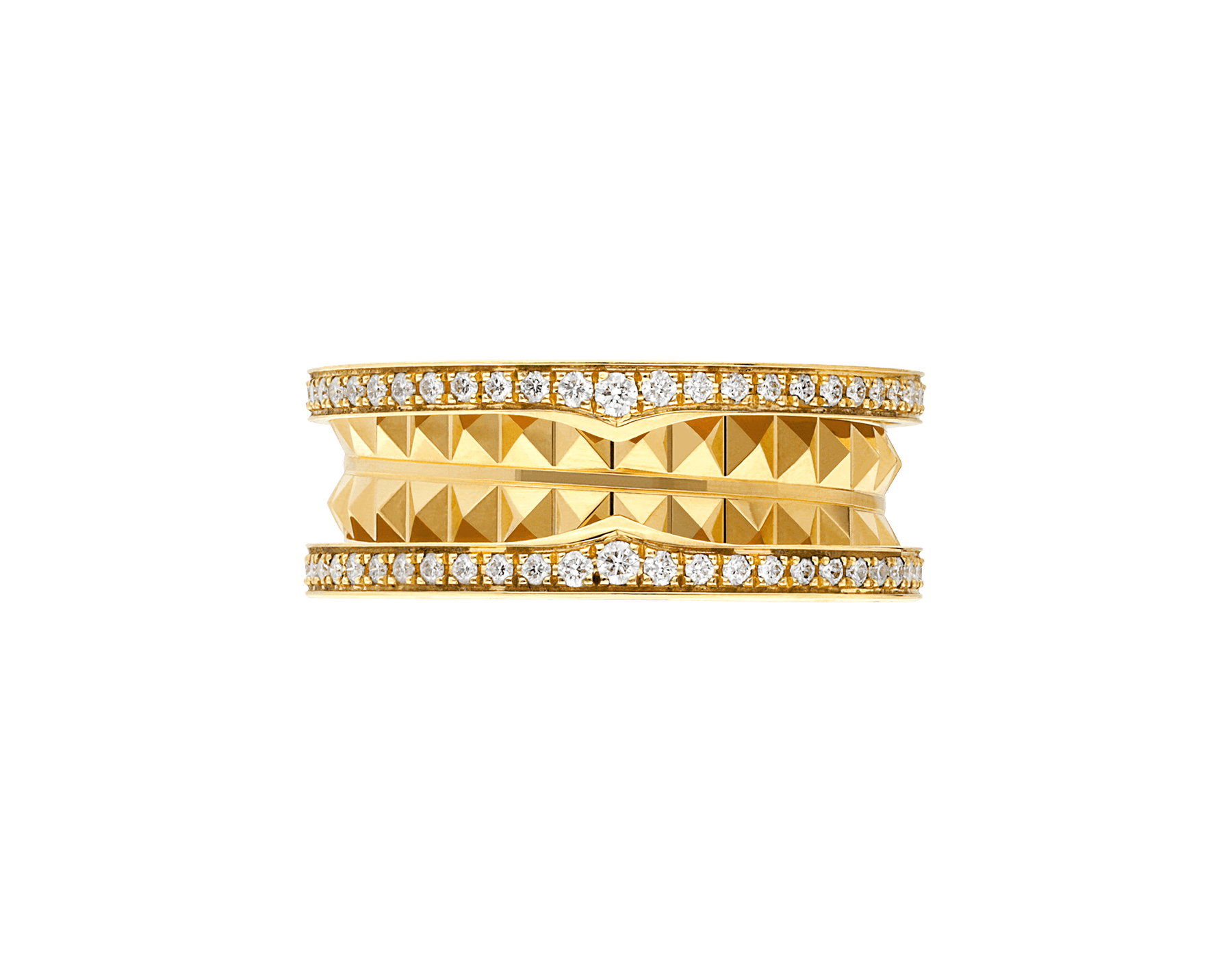 B.zero1 Rock two-band ring in 18 kt yellow gold with studded spiral and pavé diamonds on the edges AN859092 image 3
