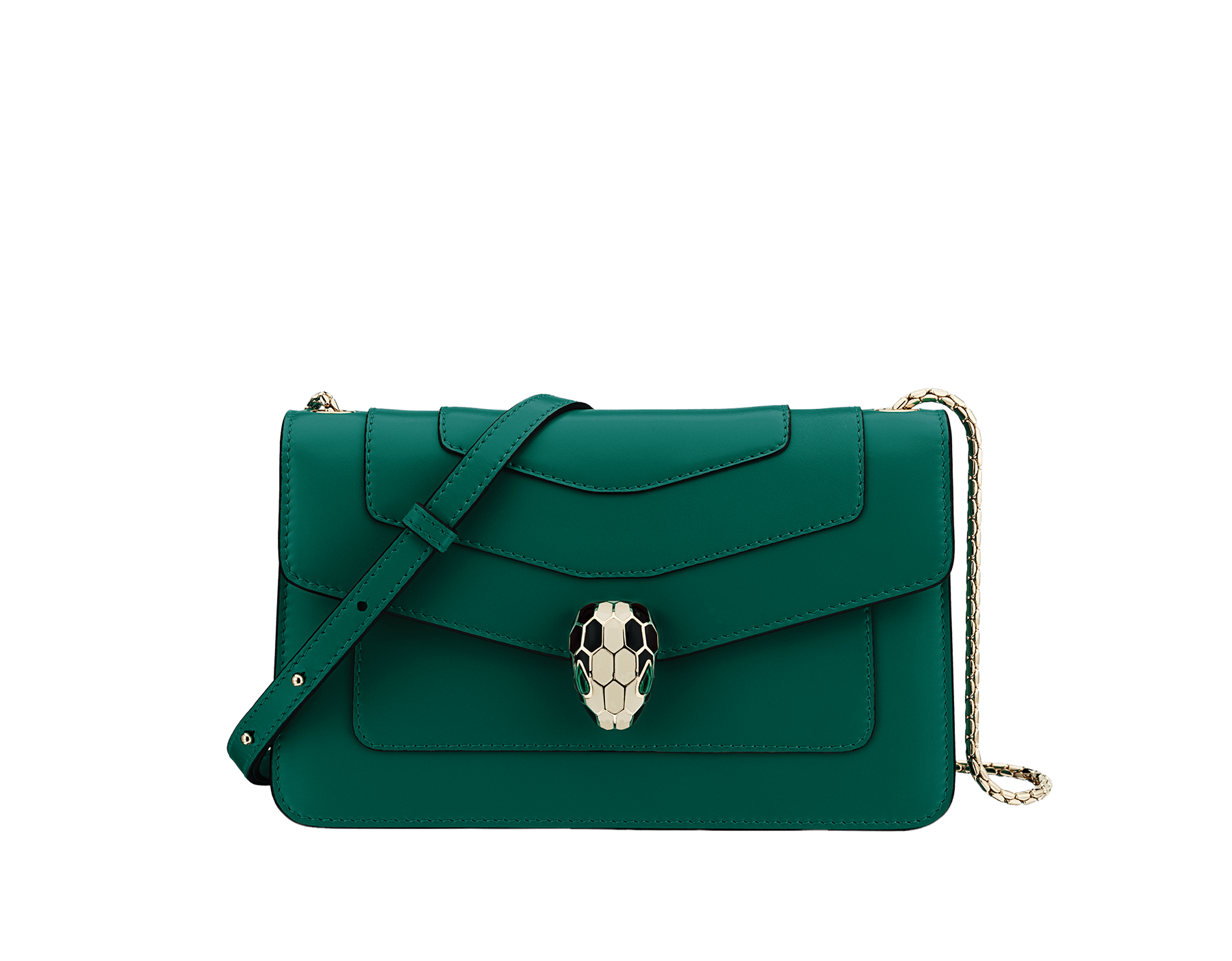 Shoulder bag in Serpenti Forever emerald green calf leather with brass light gold plated Serpenti head closure in black and white enamel with eyes in malachite. 38065 image 1