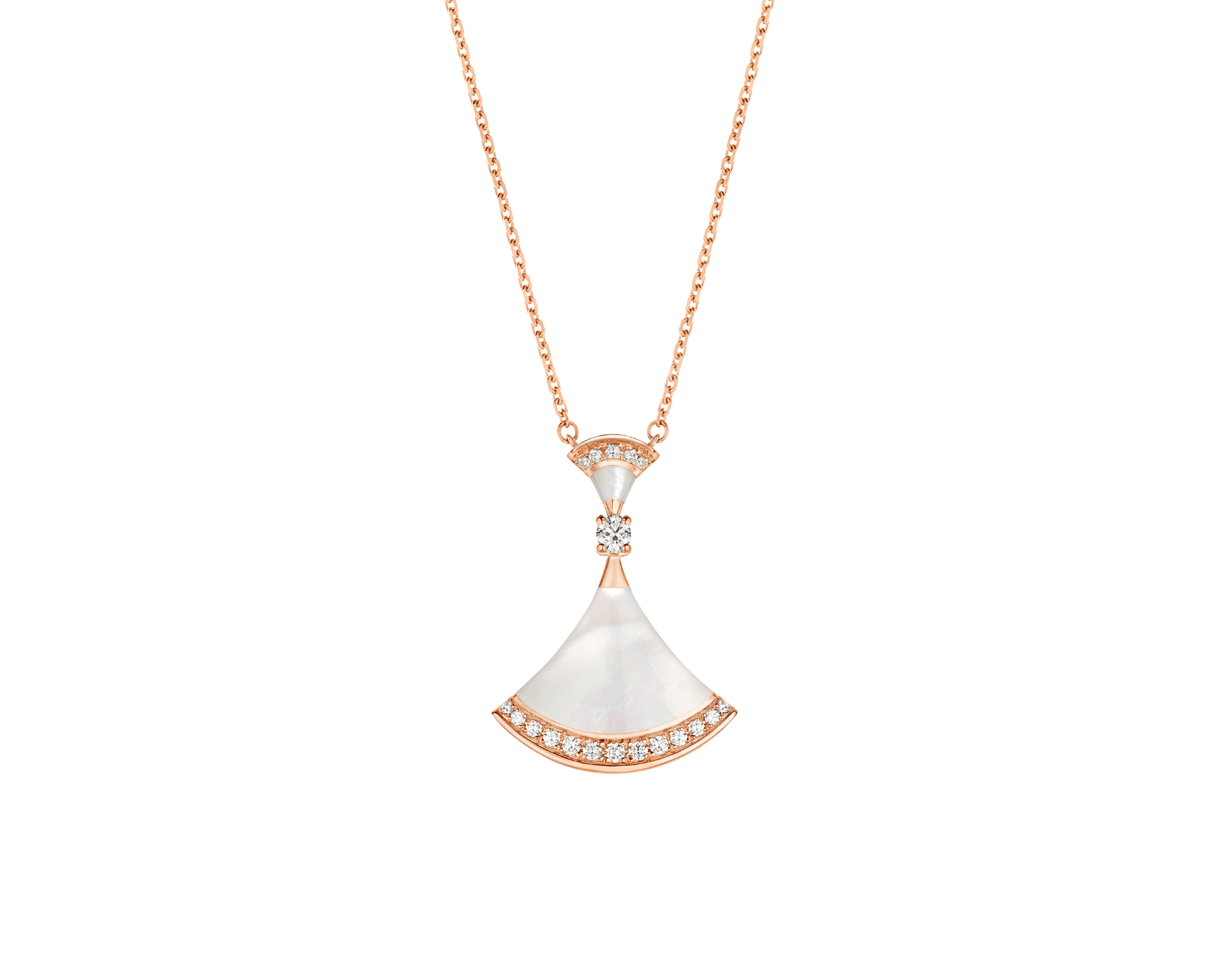 DIVAS' DREAM 18 kt rose gold necklace set with mother of pearl elements, a round brilliant-cut diamond and pavé diamonds. 356452 image 1