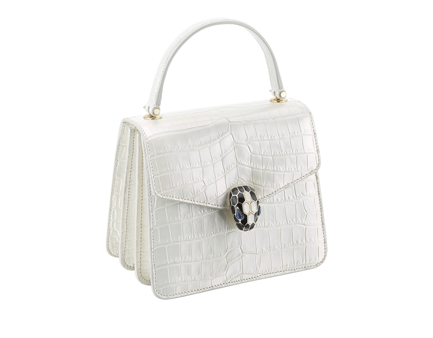 """Serpenti Forever"" crossbody bag in white agate crocodile skin with an iridescent and pearled effect. Iconic snake head closure in light gold plated brass enriched with black enamel and mother-of-pearl scales, and blue lapis lazuli eyes. 752-Cb image 2"