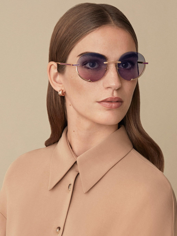 """نظارات شمسية بولغري بي.زيرو1 """"لوغو إيمبرايس"""" معدنية مستديرة. 904059 image 3"""